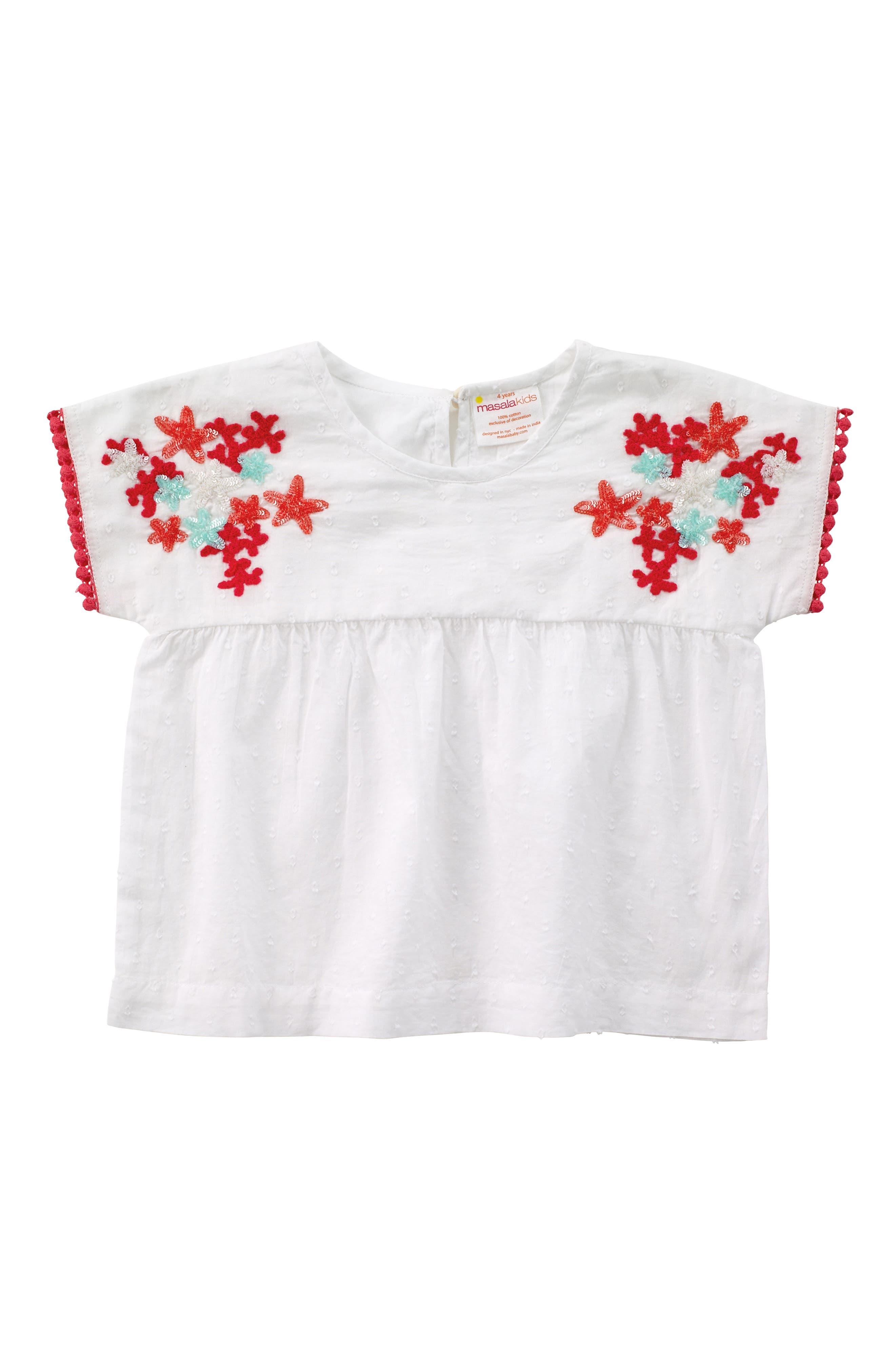 Main Image - Masalababy Kumari Embroidered Top (Toddler Girls, Little Girls & Big Girls)
