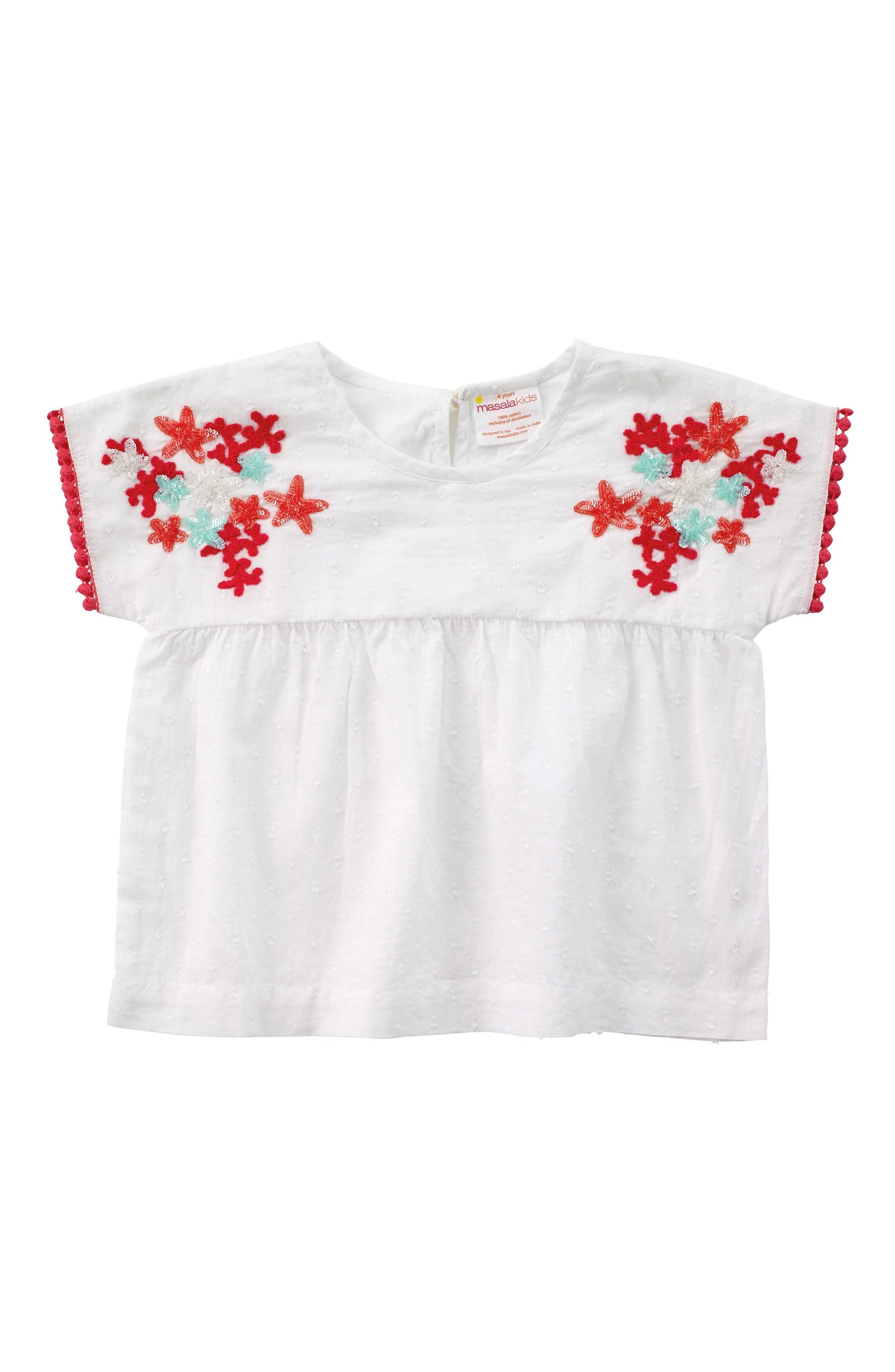 Kumari Embroidered Top,                         Main,                         color, White
