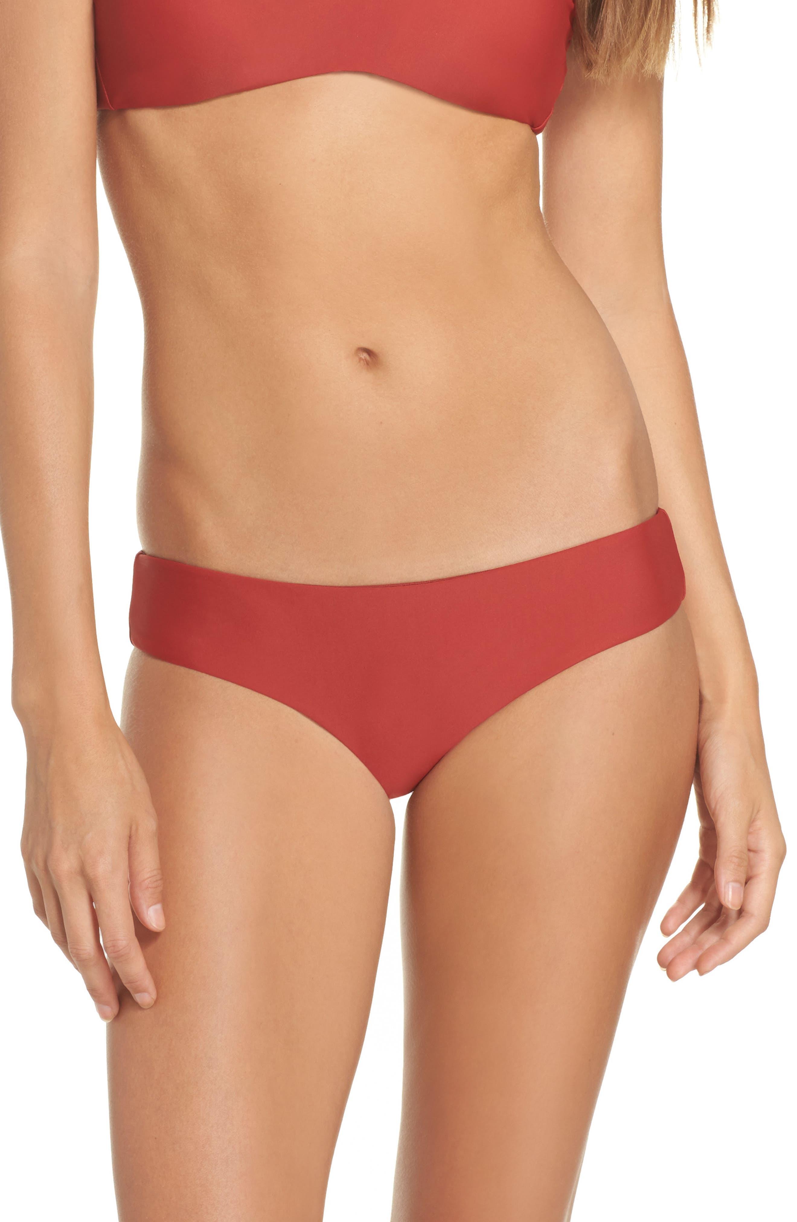 Shirred Bikini Bottoms,                         Main,                         color, Chili Powder