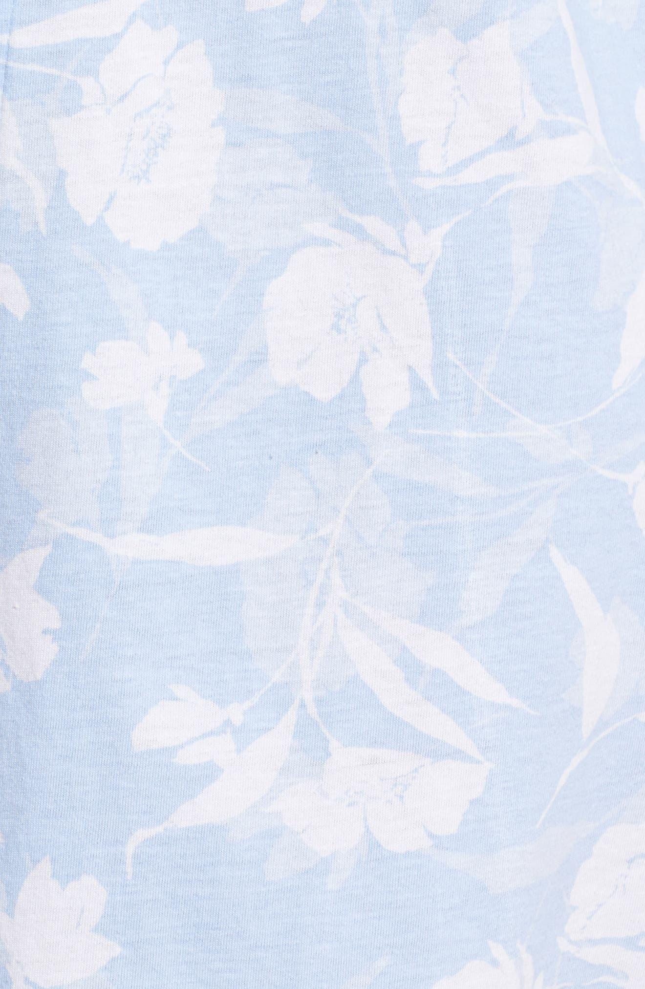 Notch Collar Sleep Shirt,                             Alternate thumbnail 5, color,                             Pale Blue Monotone Floral