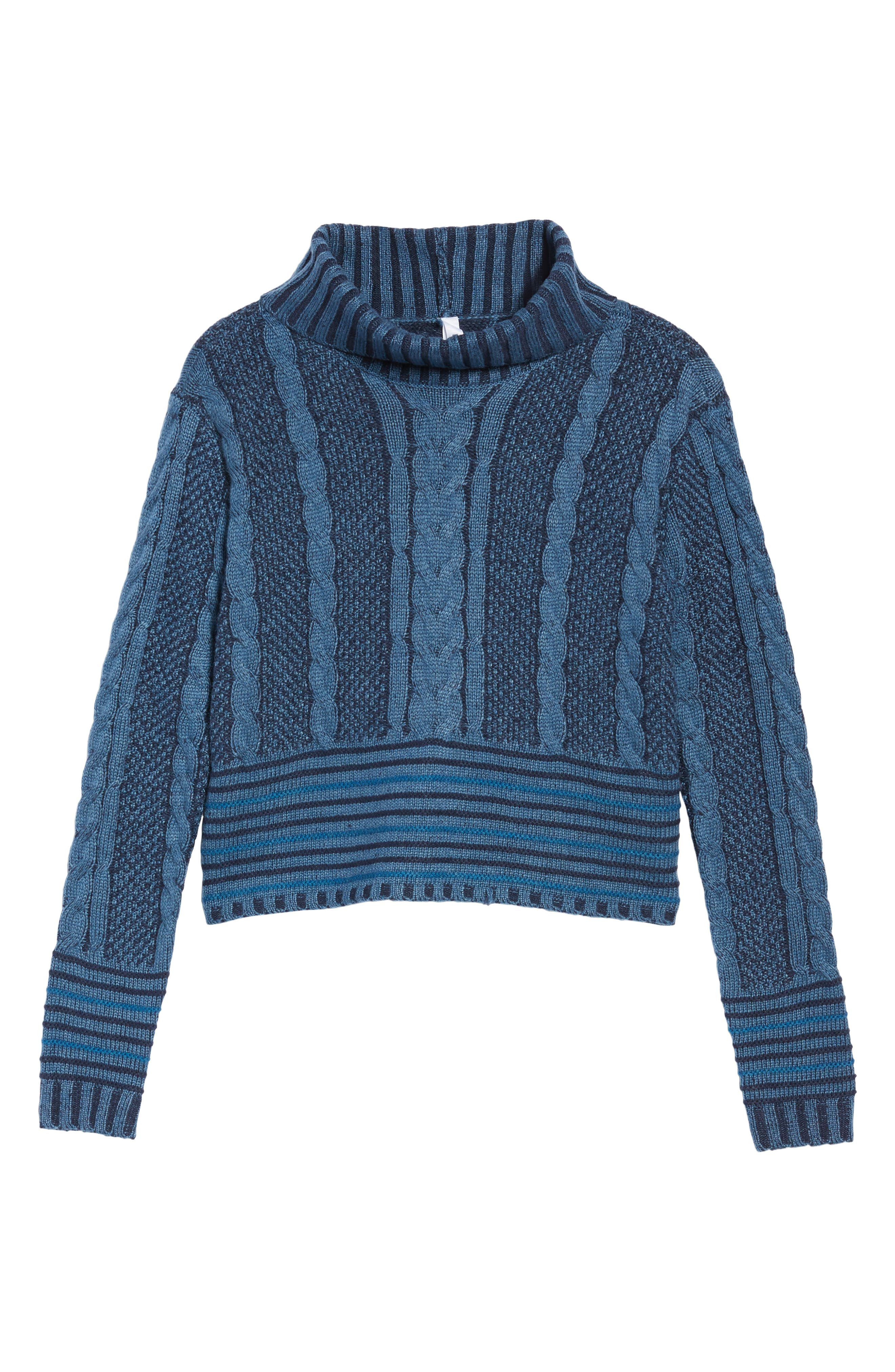 Mix Up Knit Sweater,                             Alternate thumbnail 6, color,                             Blue Heather