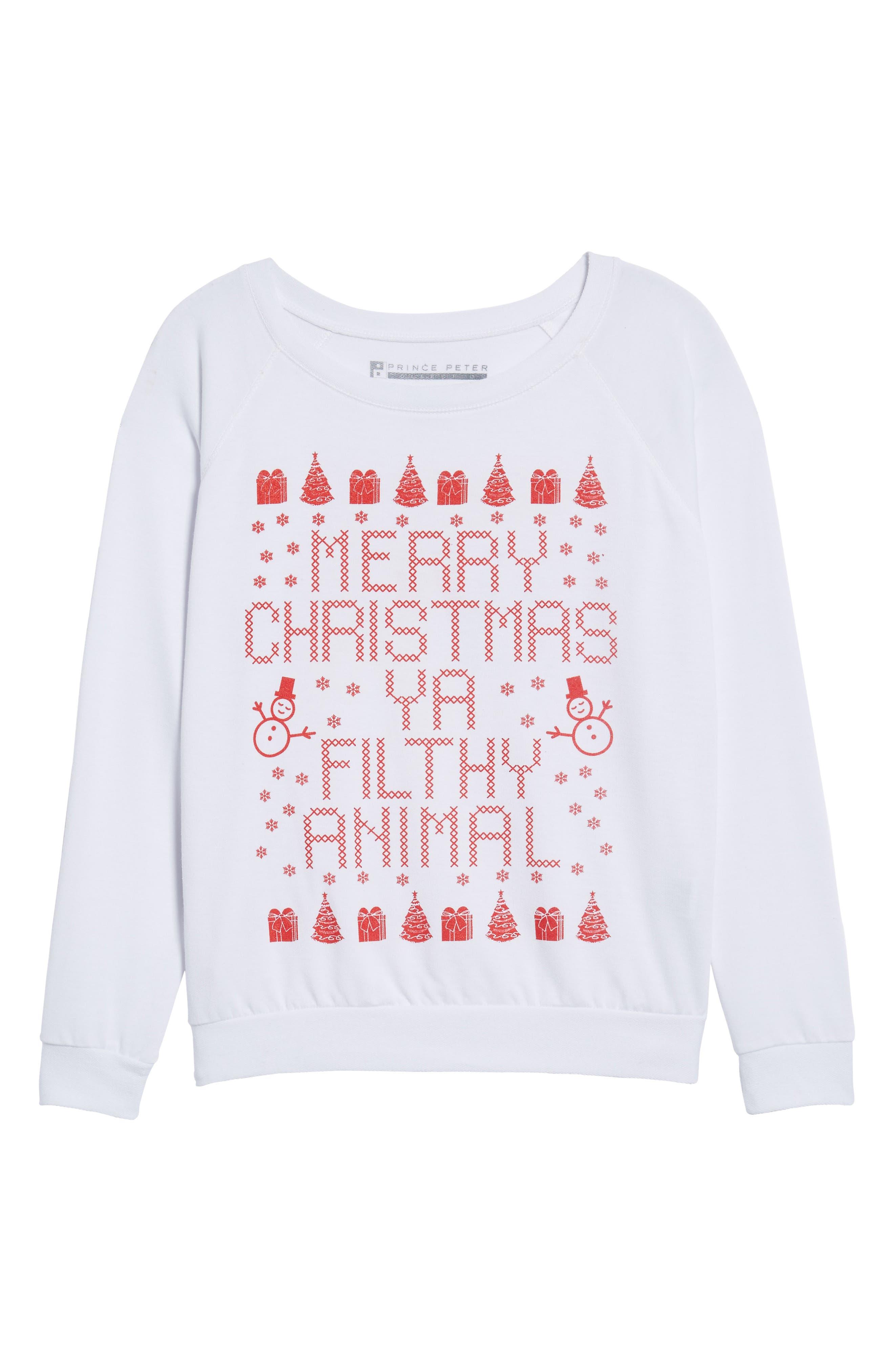 Merry Christmas Ya Filthy Animal Sweatshirt,                             Alternate thumbnail 6, color,                             White