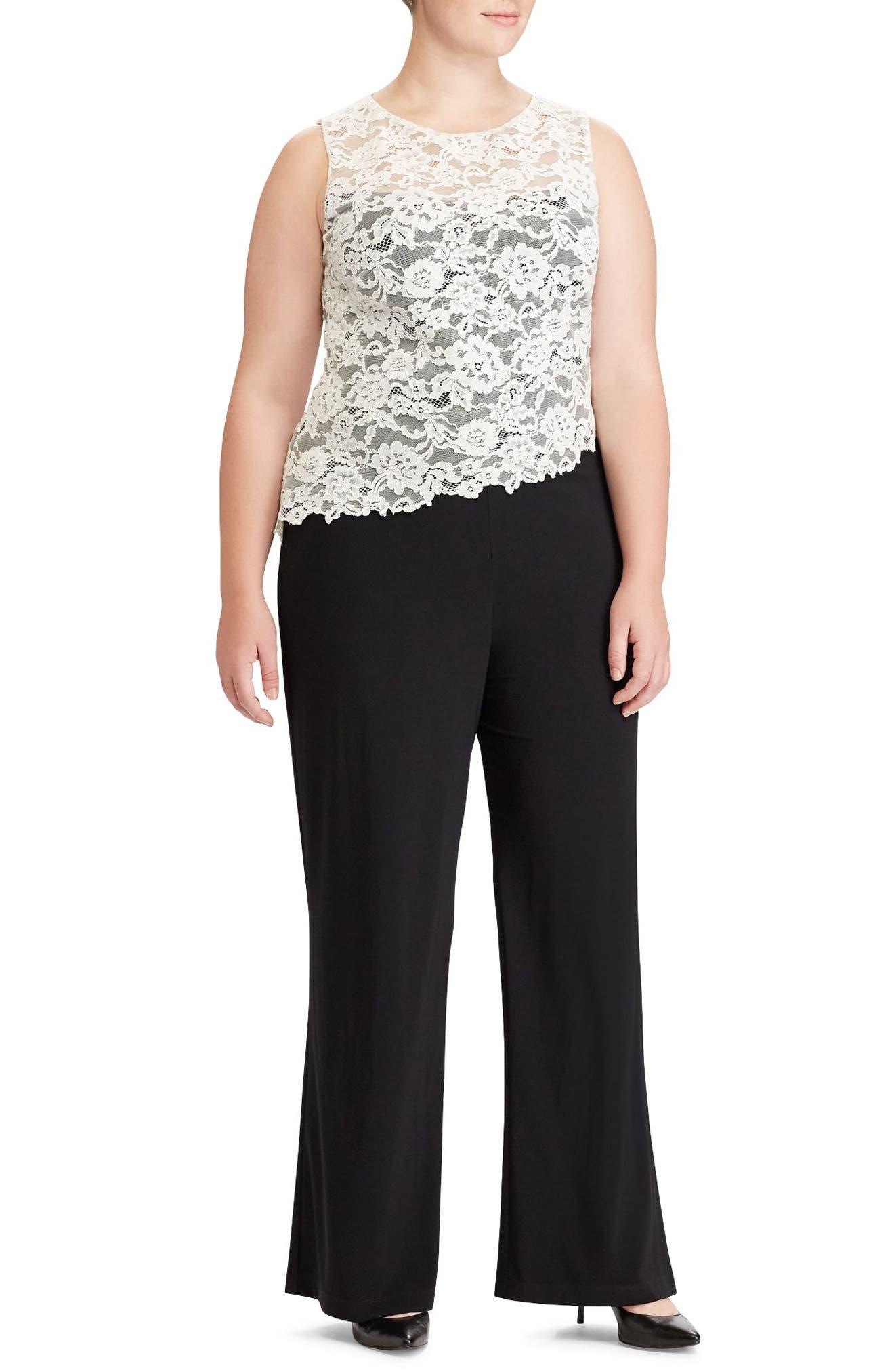 Main Image - Lauren Ralph Lauren Zakiya Lacy Jumpsuit (Plus Size)