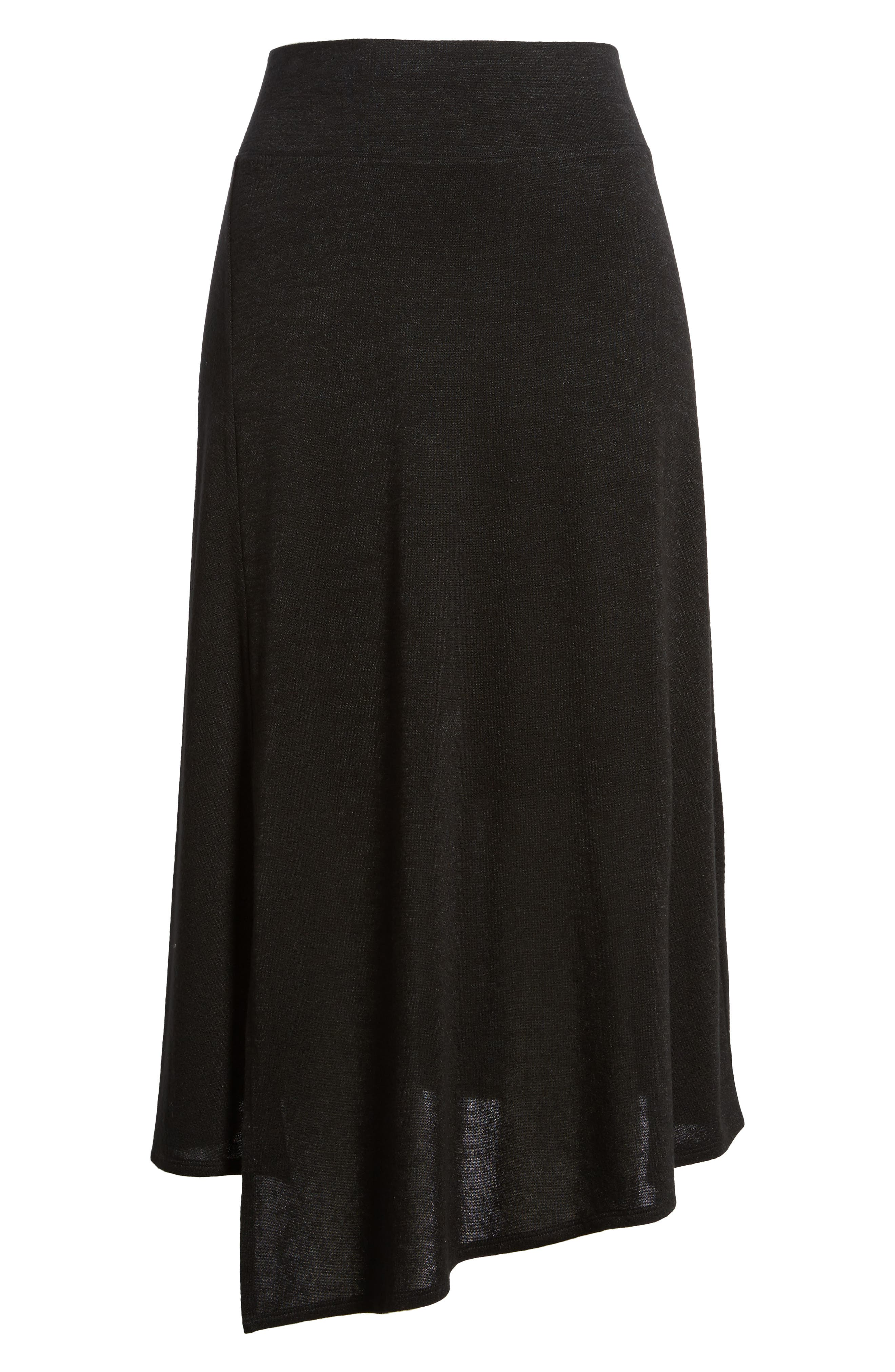 Nic + Zoe Every Occasion Faux Wrap Skirt,                             Alternate thumbnail 6, color,                             Black Onyx