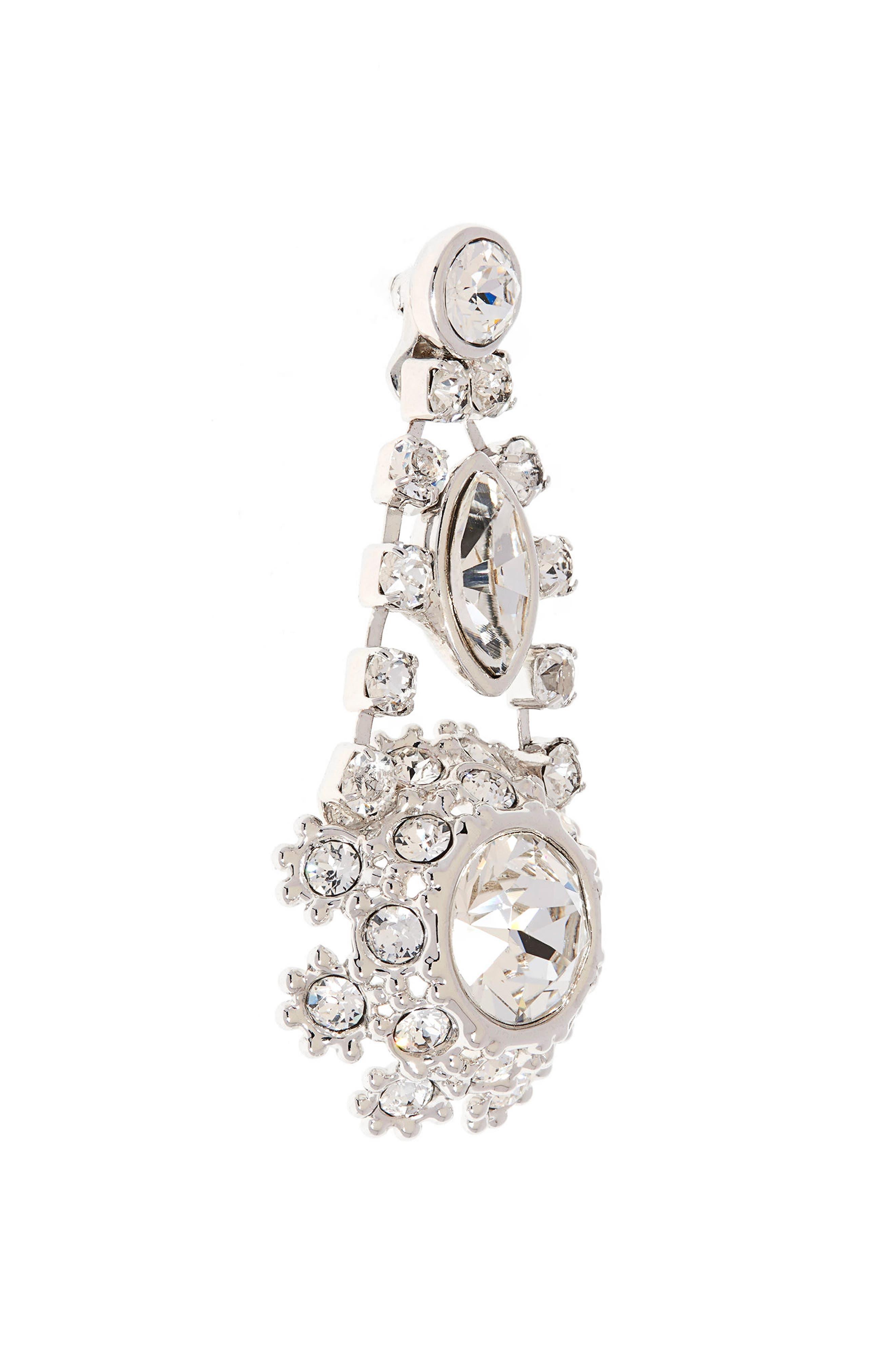 Crystal Daisy Lace Drop Earrings,                             Alternate thumbnail 3, color,                             Clear