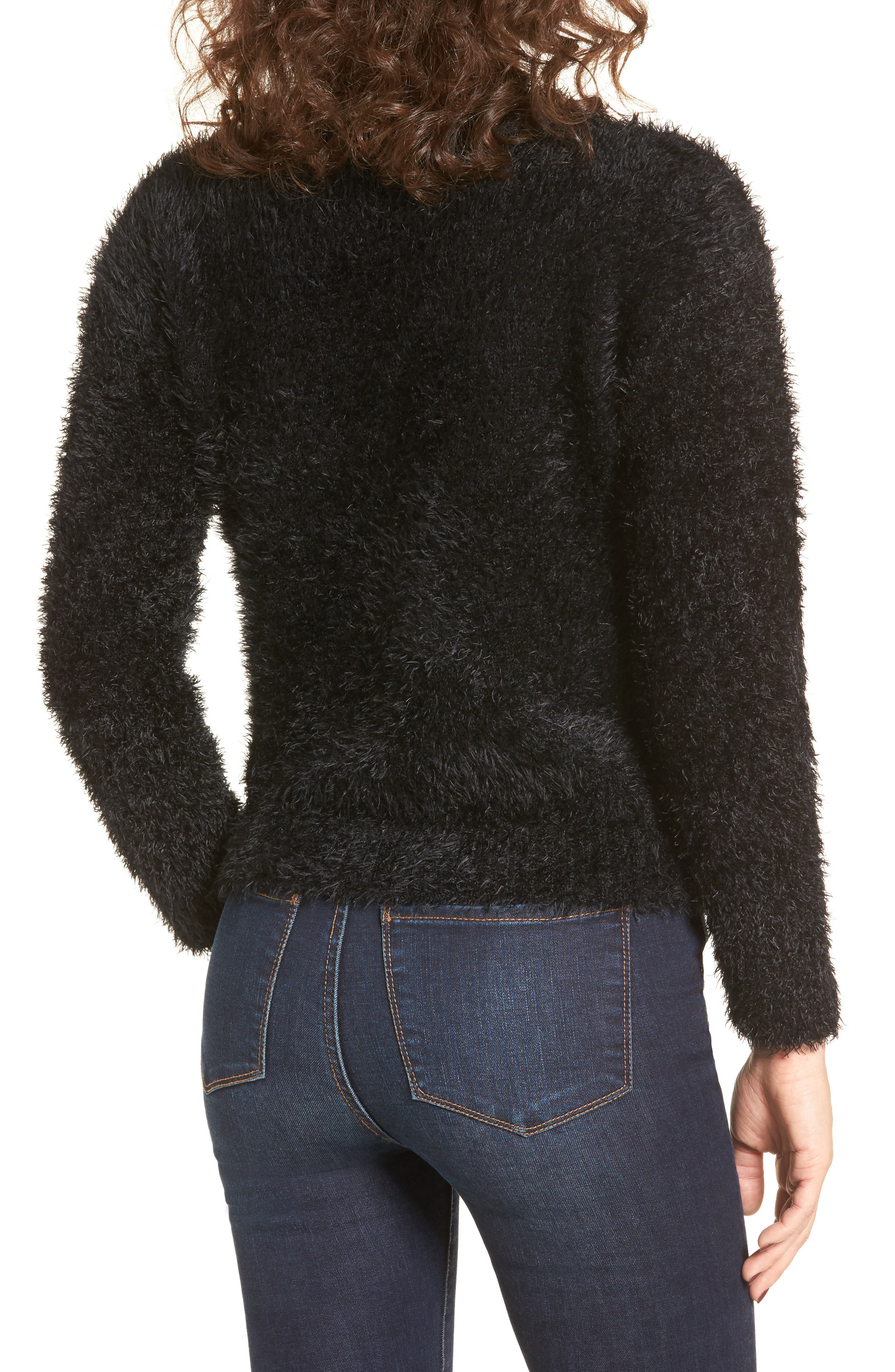 Fuzzy Surplice Sweater,                             Alternate thumbnail 2, color,                             Black