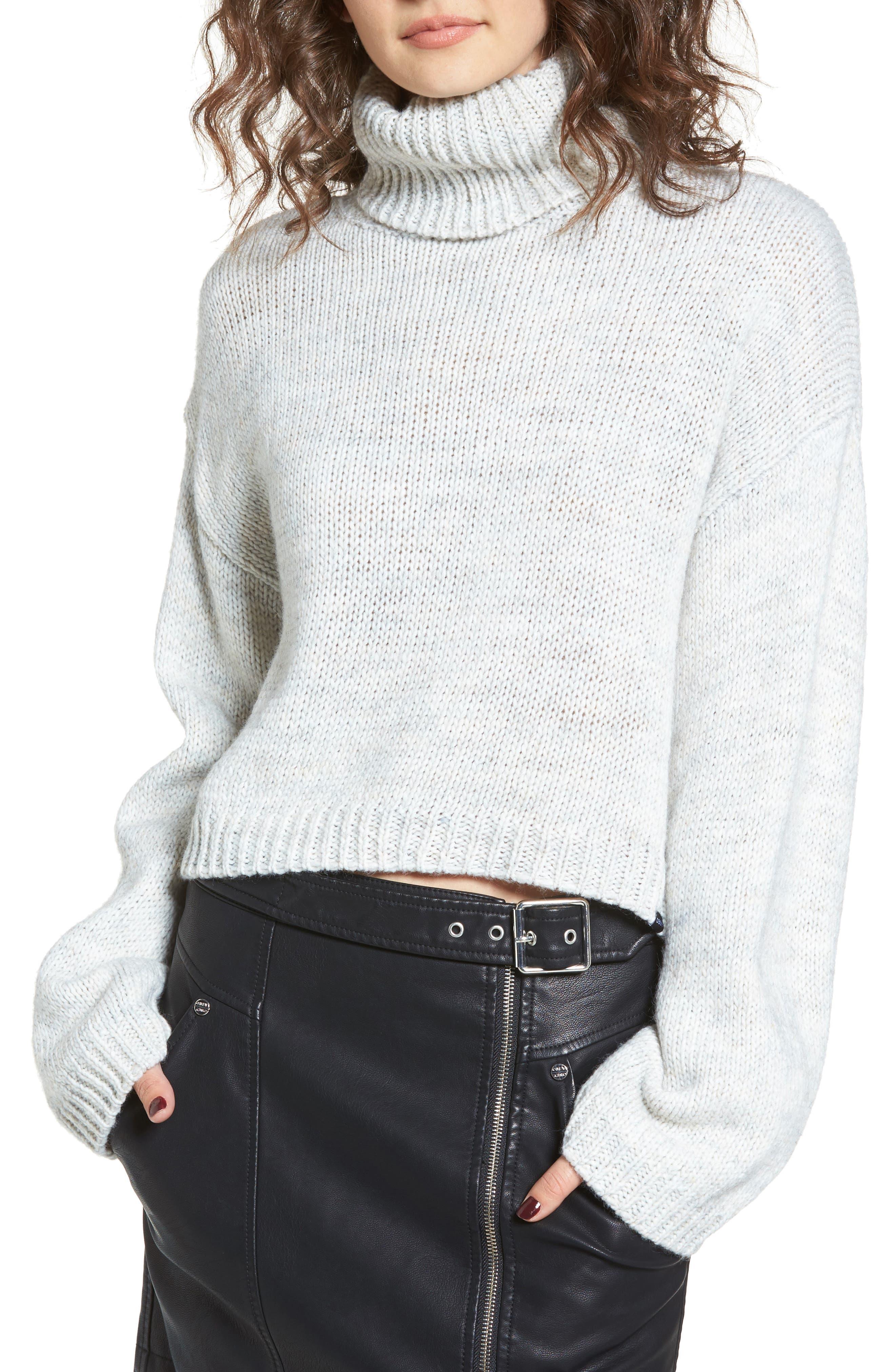 Skelter Turtleneck Sweater,                             Main thumbnail 1, color,                             Heather Grey