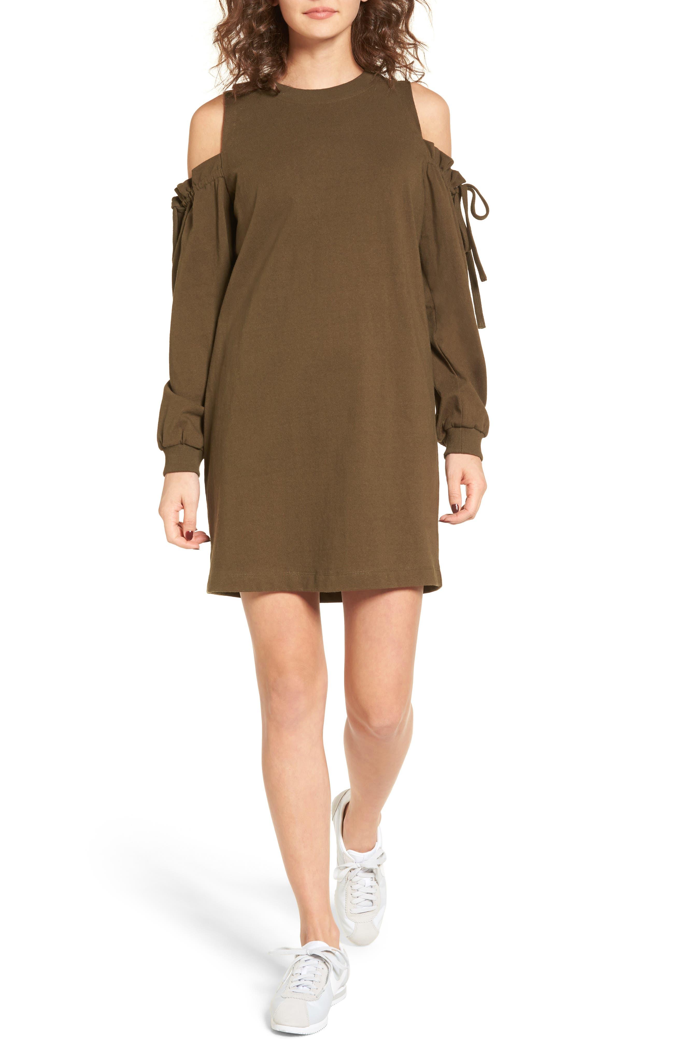 Alternate Image 1 Selected - Cold Shoulder Sweatshirt Dress