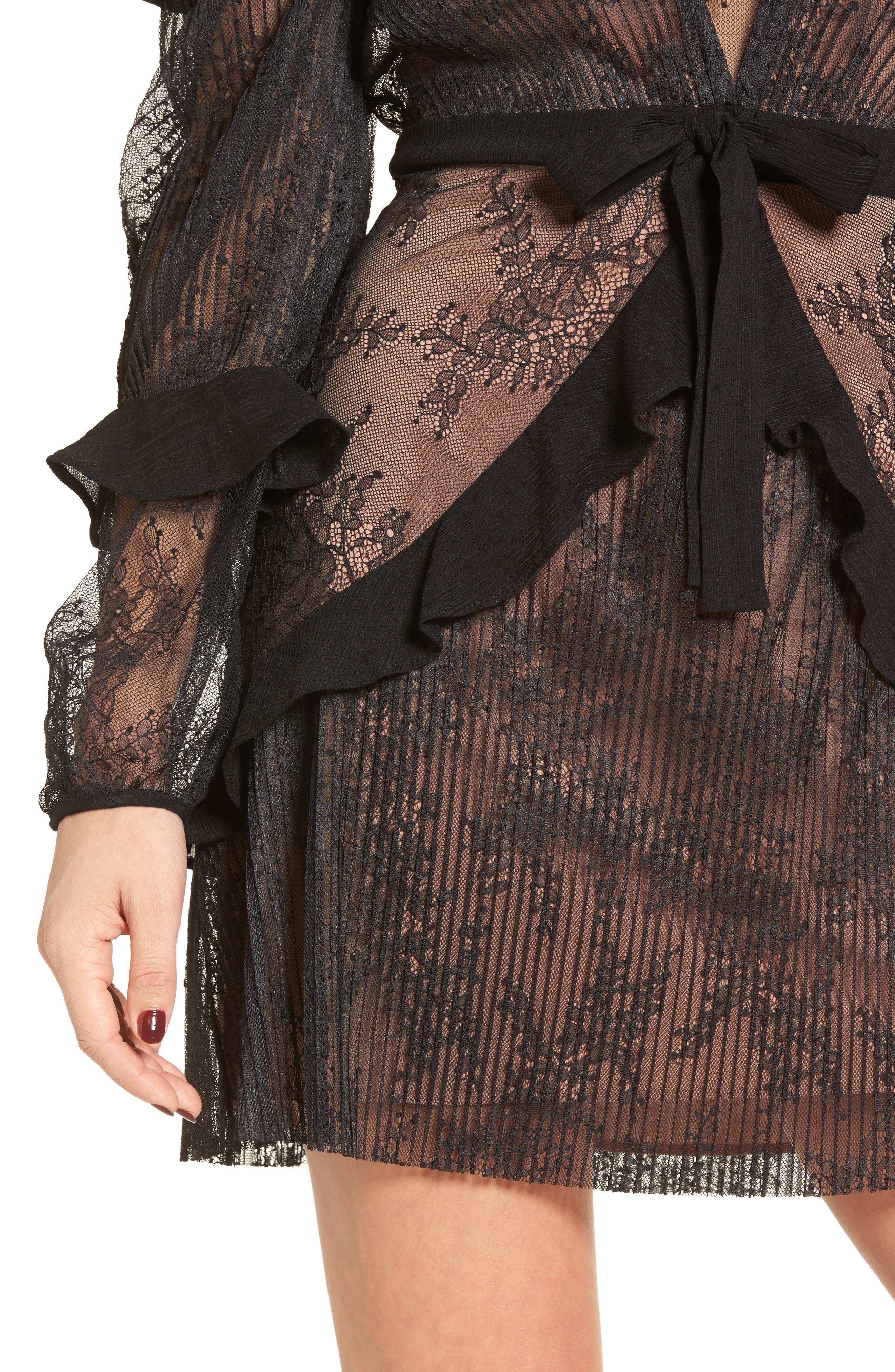 Margo Cold Shoulder Minidress,                             Alternate thumbnail 4, color,                             Black