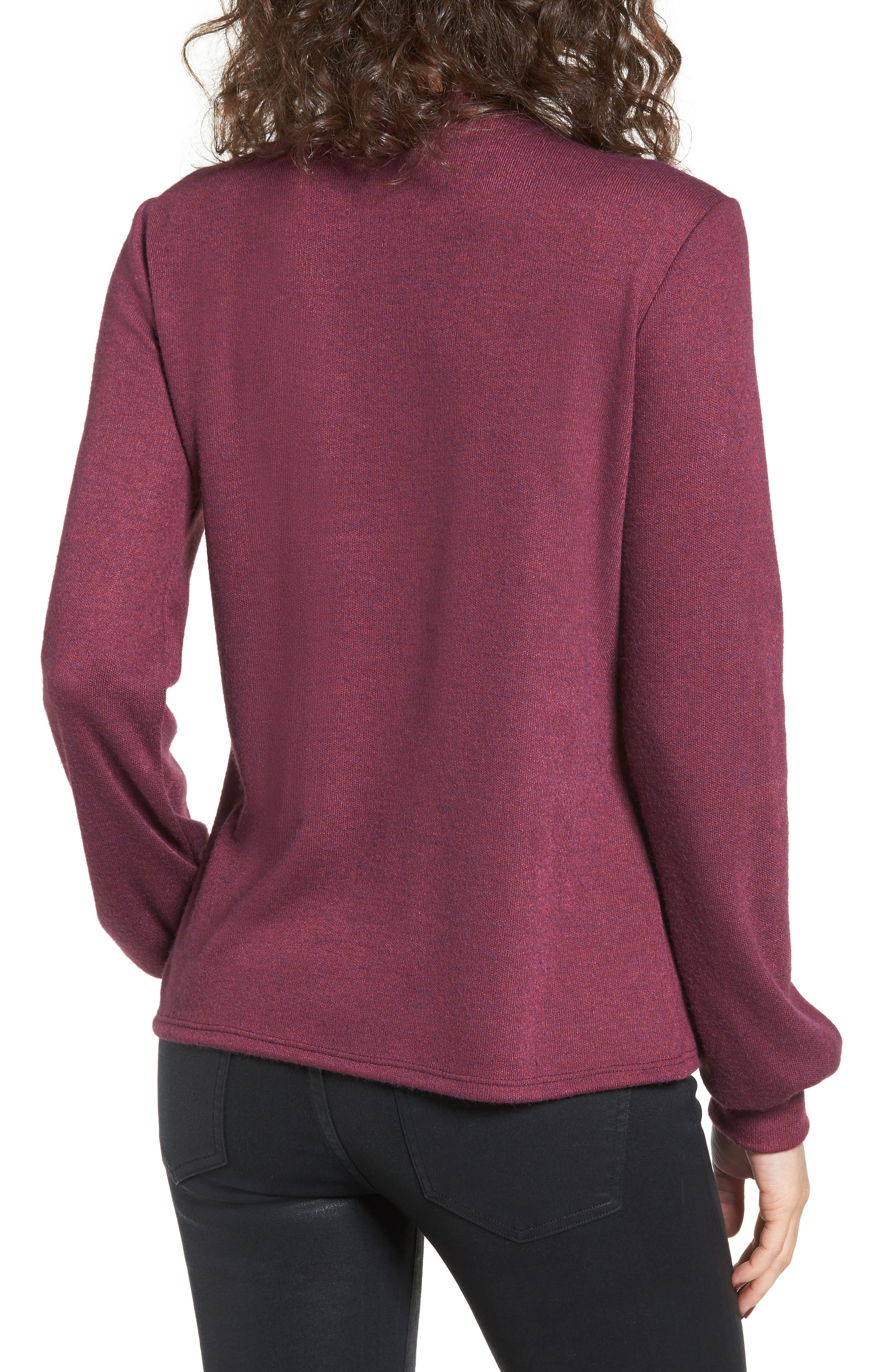 Lace-Up Sweater,                             Alternate thumbnail 2, color,                             Burgundy