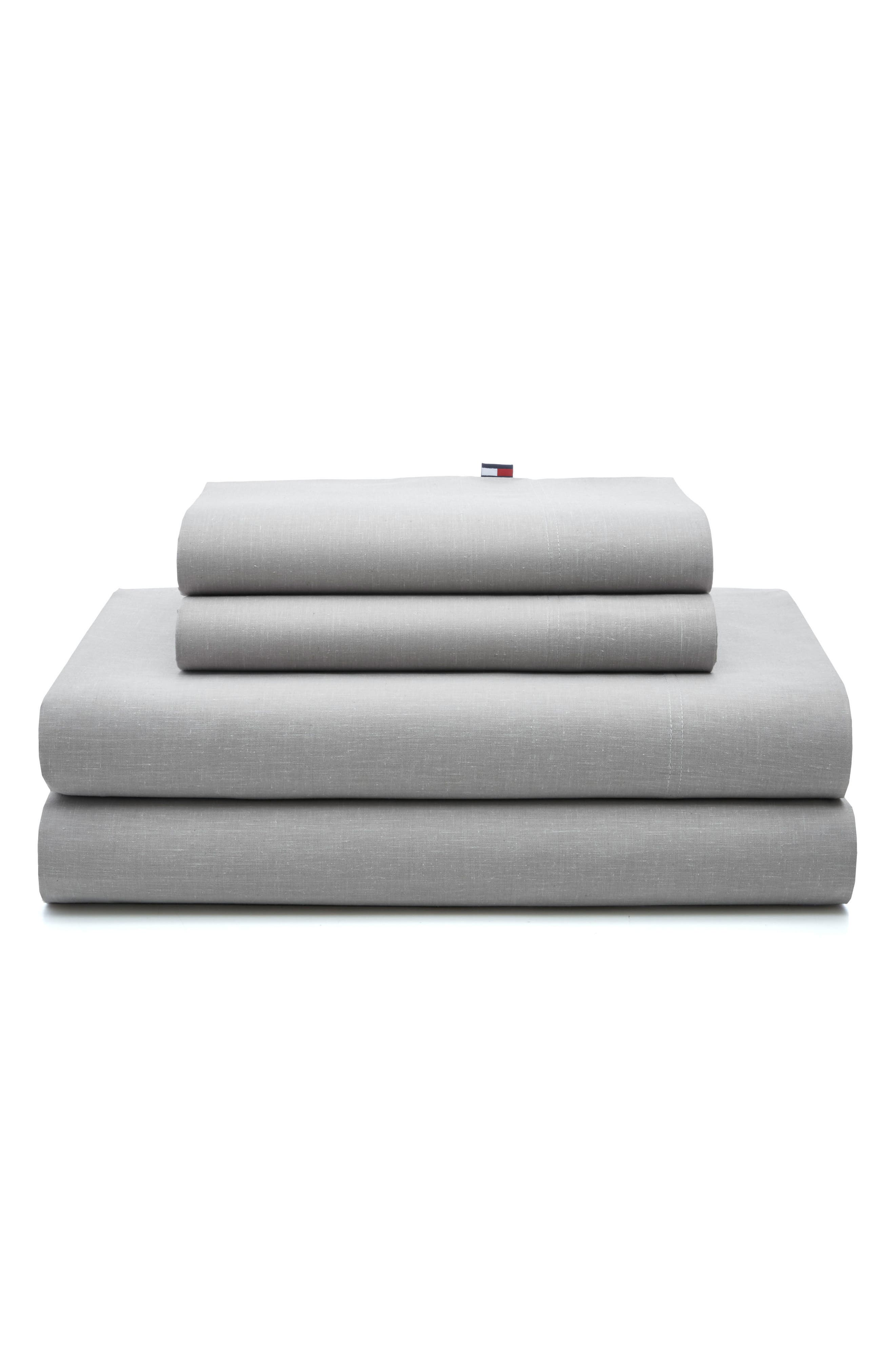 Chambray Pillowcases,                         Main,                         color, Light Grey