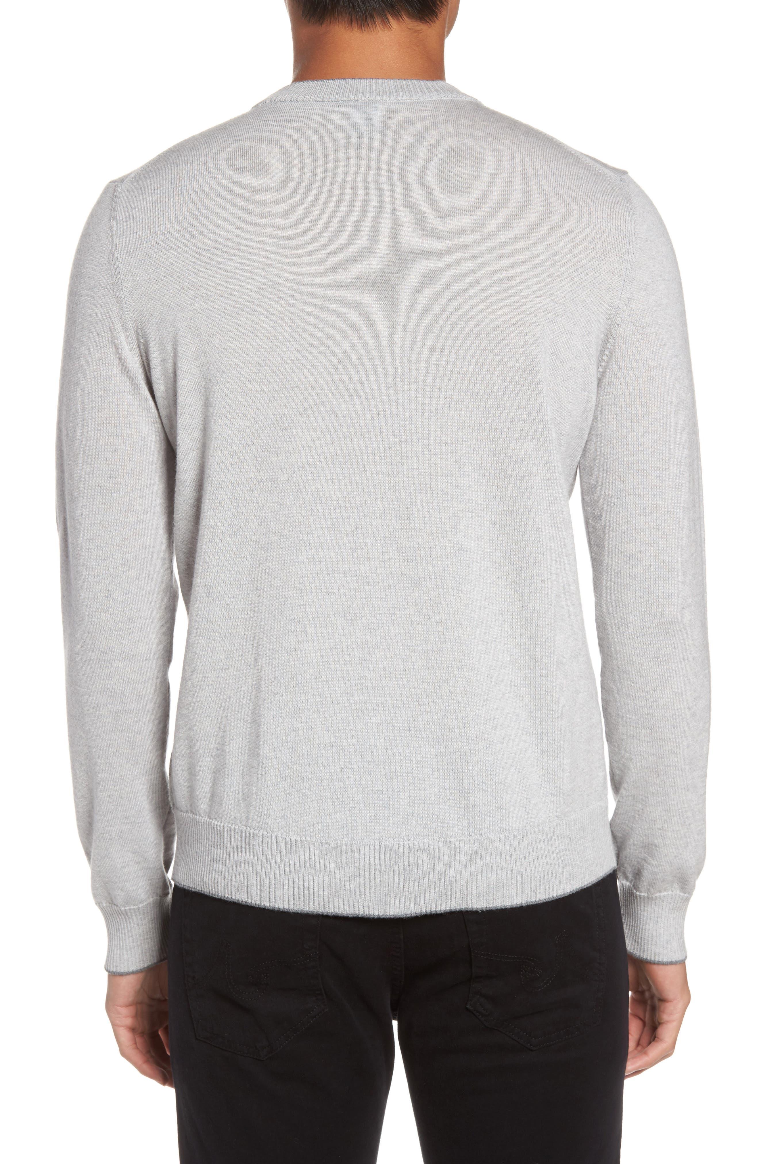 Virgin Wool Crewneck Sweater,                             Alternate thumbnail 2, color,                             Light Grey