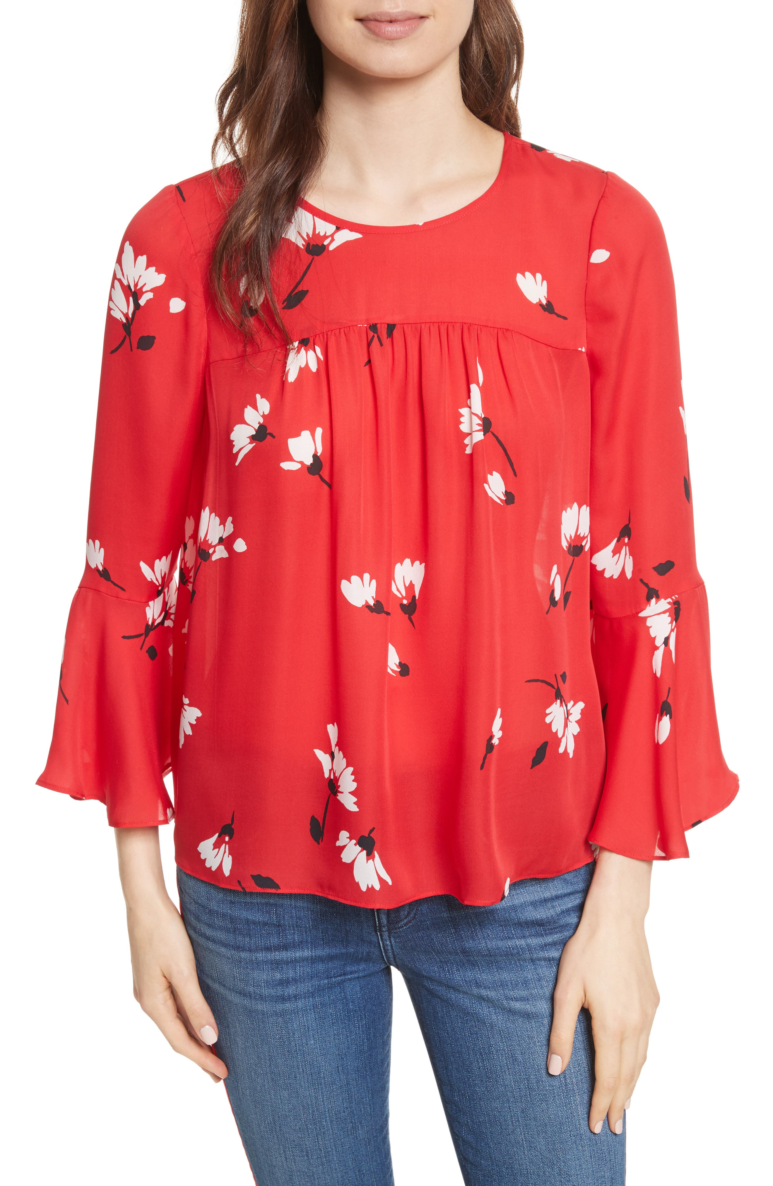 Awilda Bell Sleeve Silk Top,                             Main thumbnail 1, color,                             Alarm Red