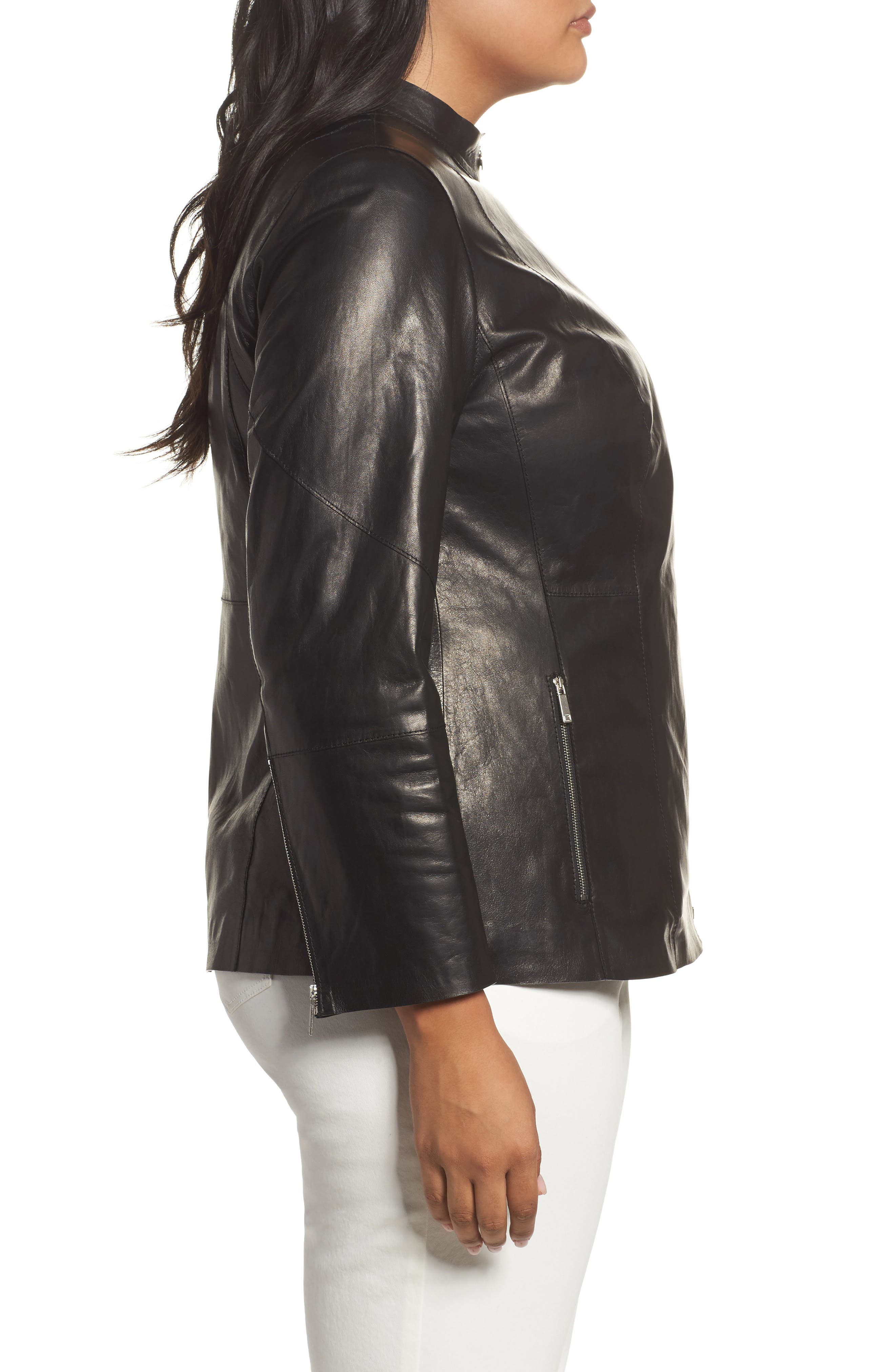 Presley Moto Leather Jacket,                             Alternate thumbnail 3, color,                             Black