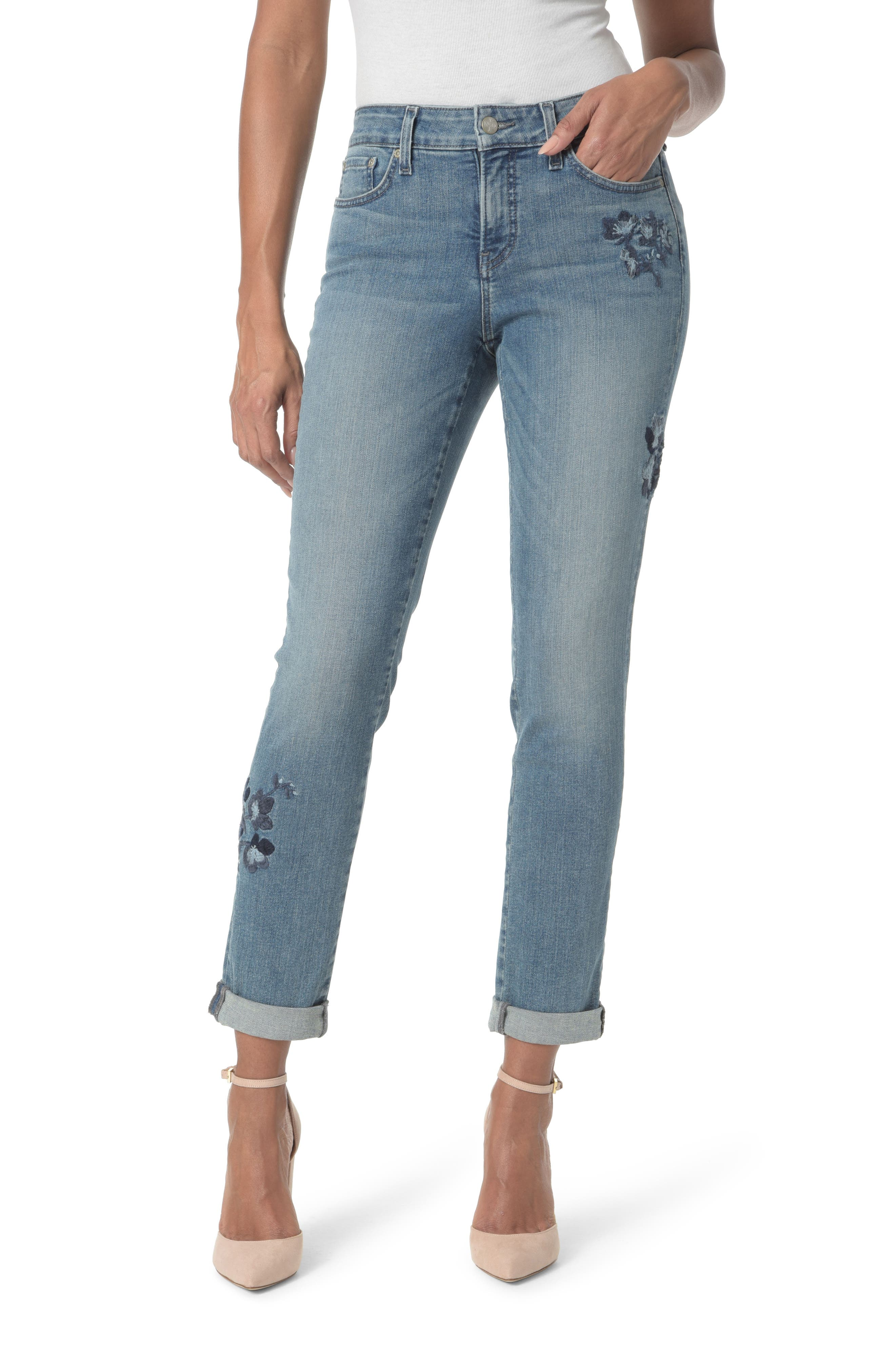 Alternate Image 1 Selected - NYDJ Embroidered Boyfriend Jeans (Pacific)