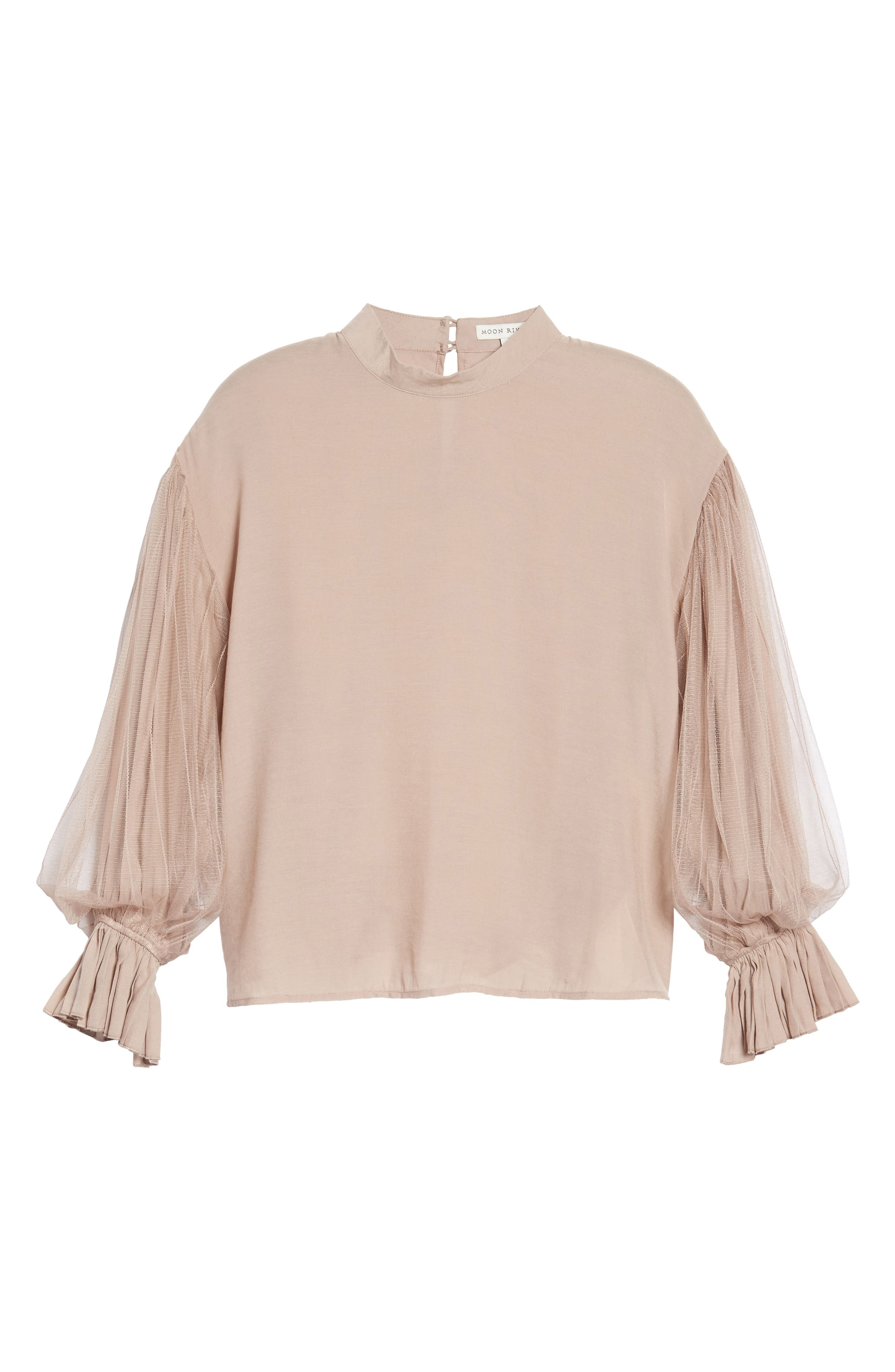 Tulle Puff Sleeve Top,                             Alternate thumbnail 6, color,                             Dusty Rose