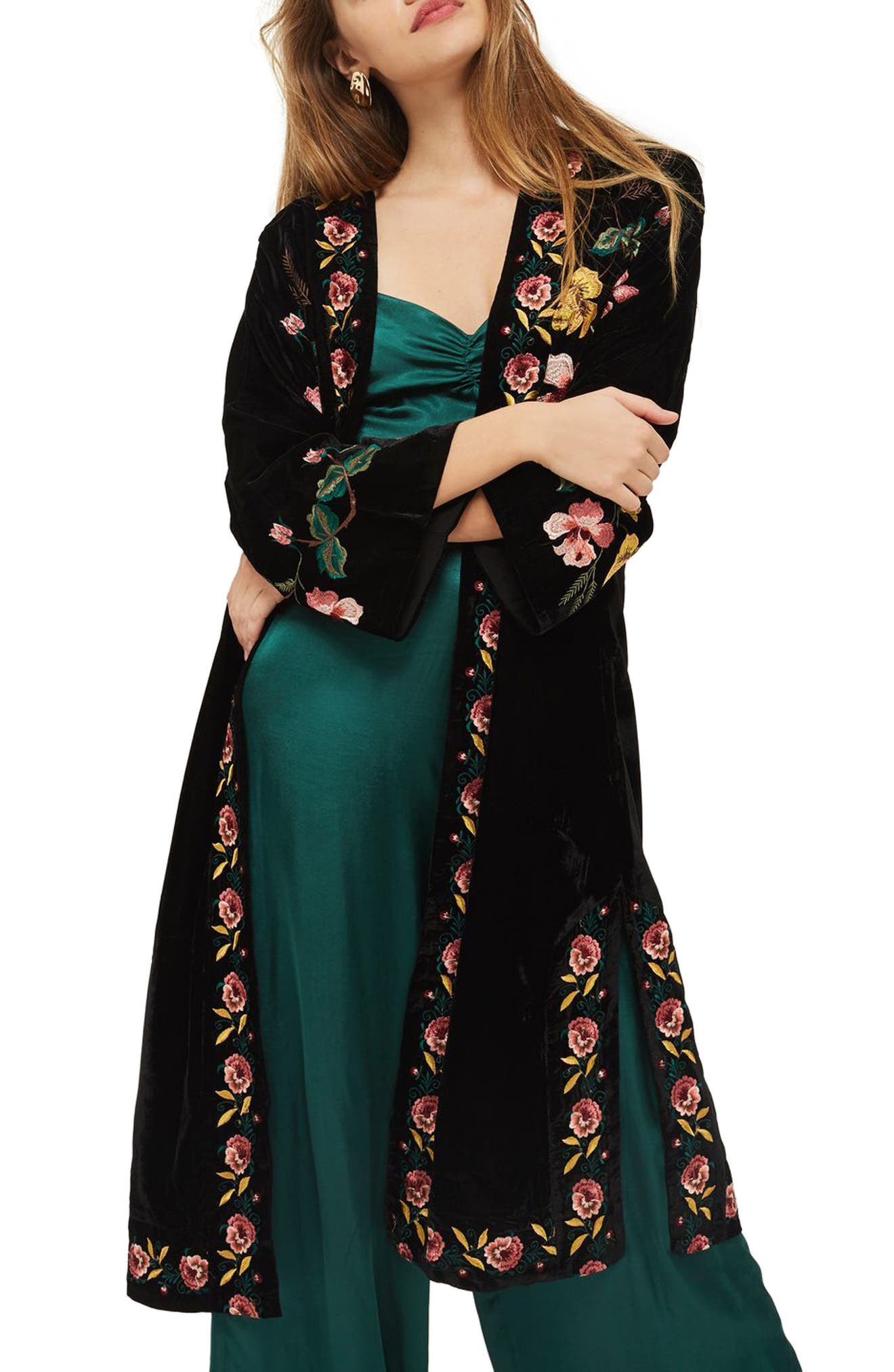 Floral Embroidered Velvet Kimono,                             Main thumbnail 1, color,                             Black Multi