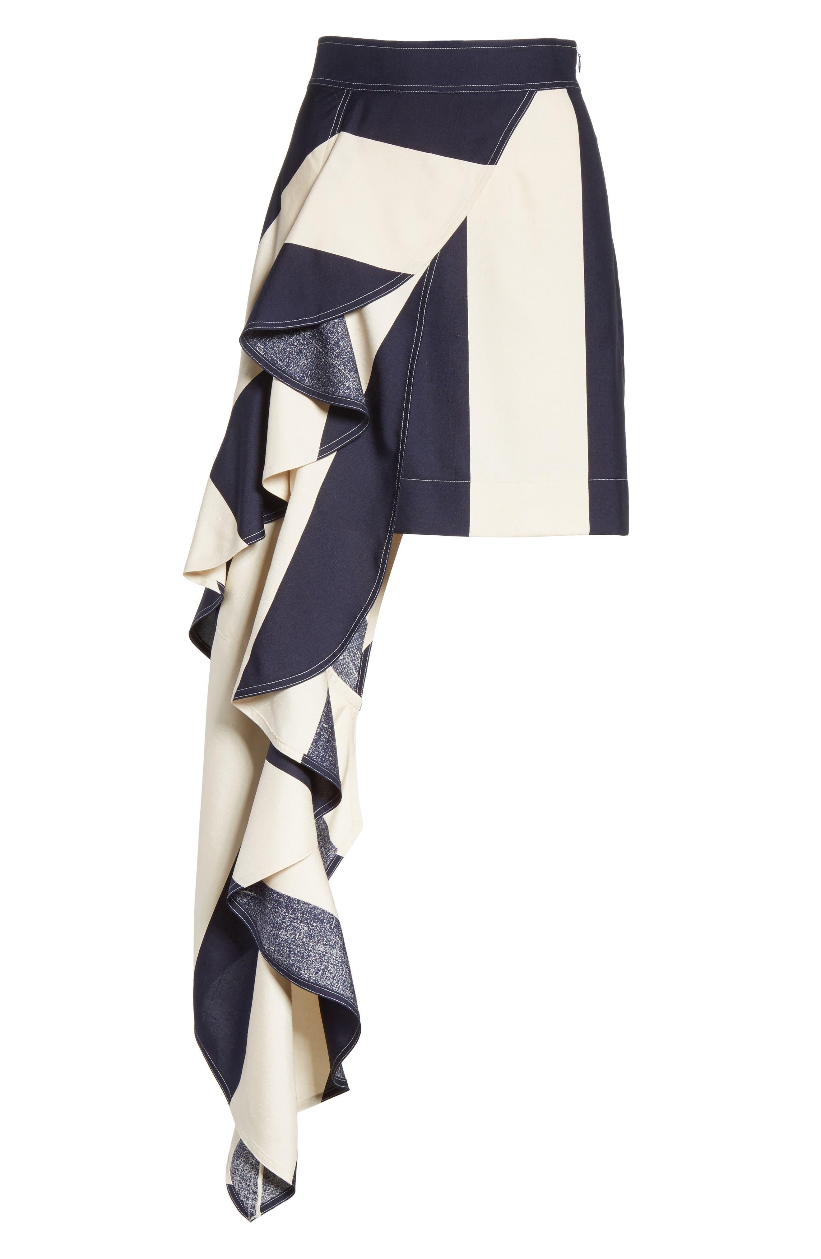 Alternate Image 7  - Calvin Klein 205W39NYC Flag Stripe Silk Shantung Drape Skirt