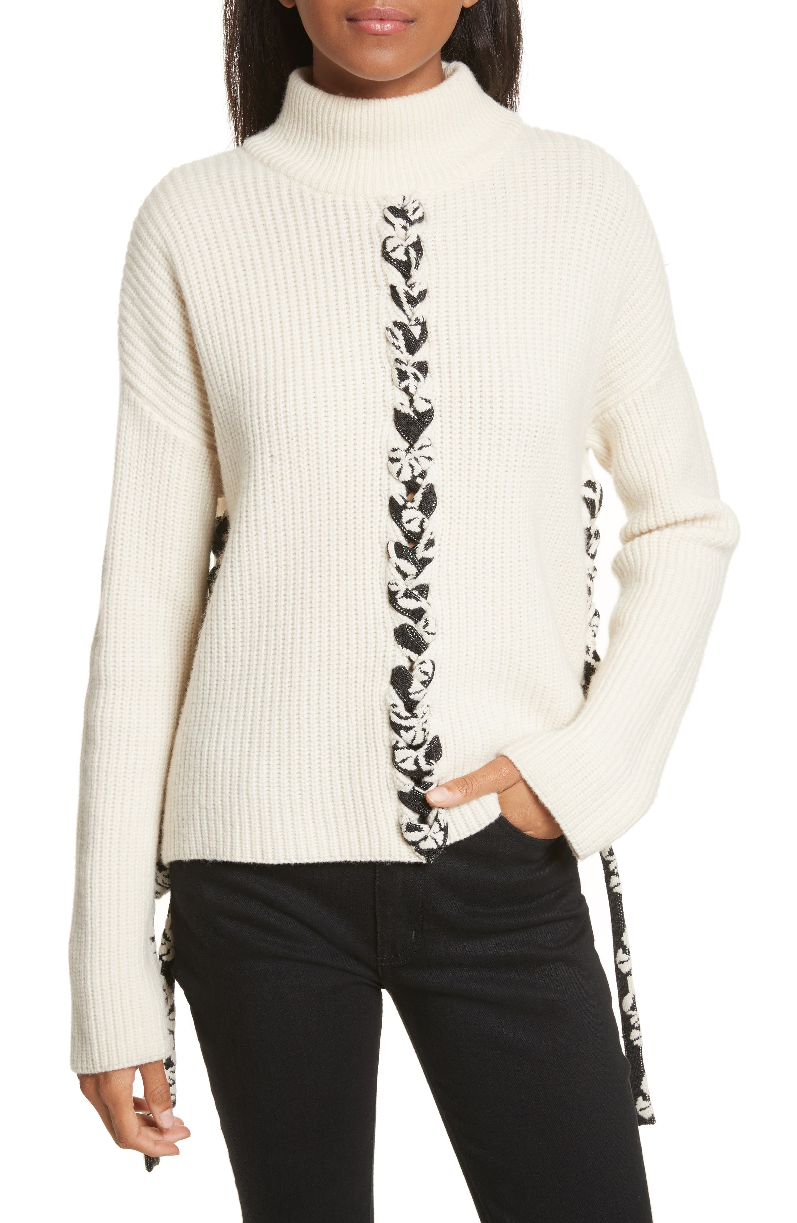 Mughal Lace-Up Sweater,                             Main thumbnail 1, color,                             Off White W/ Jacquard Ties
