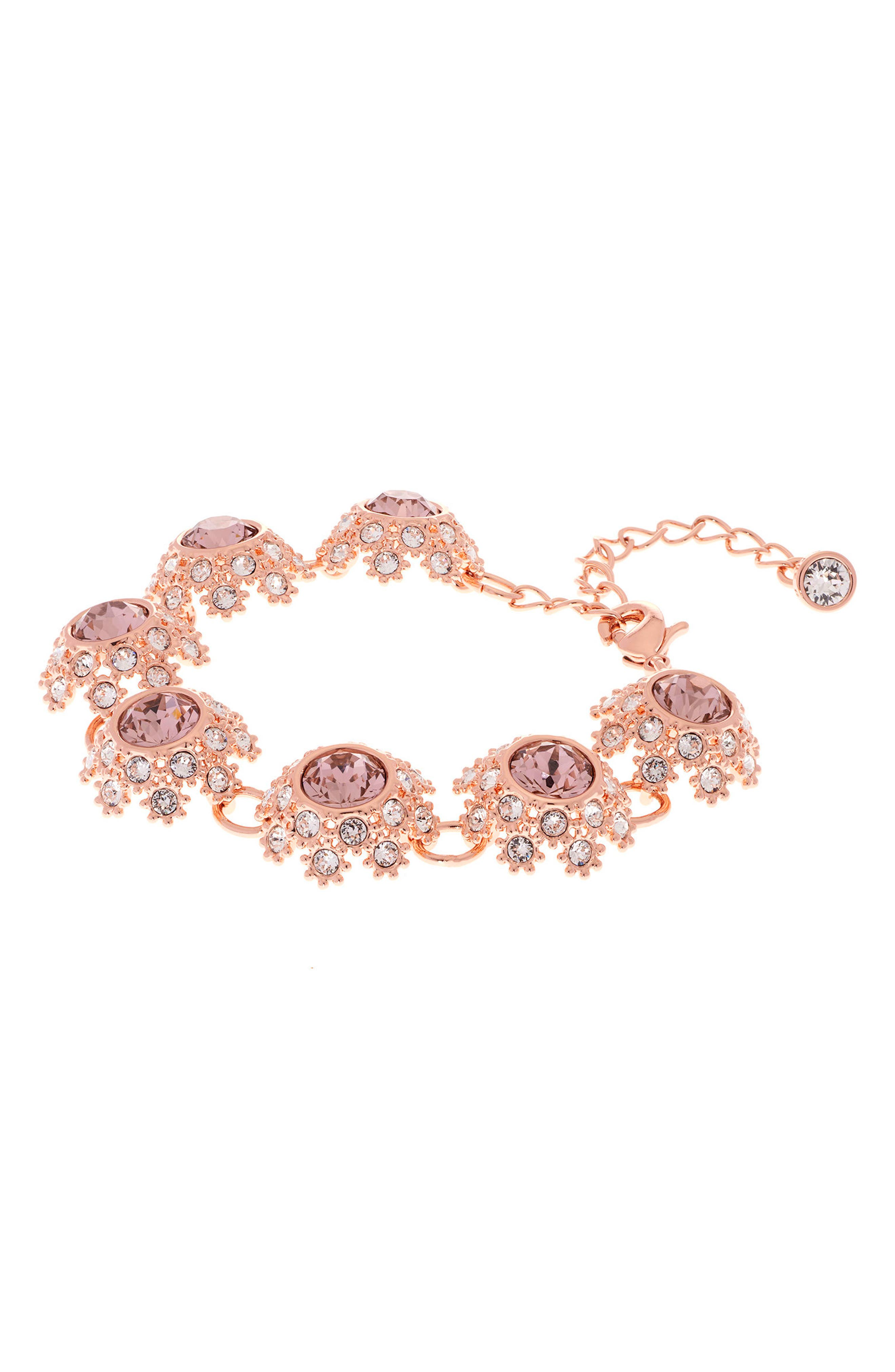 Crystal Daisy Lace Station Bracelet,                             Alternate thumbnail 2, color,                             Pink