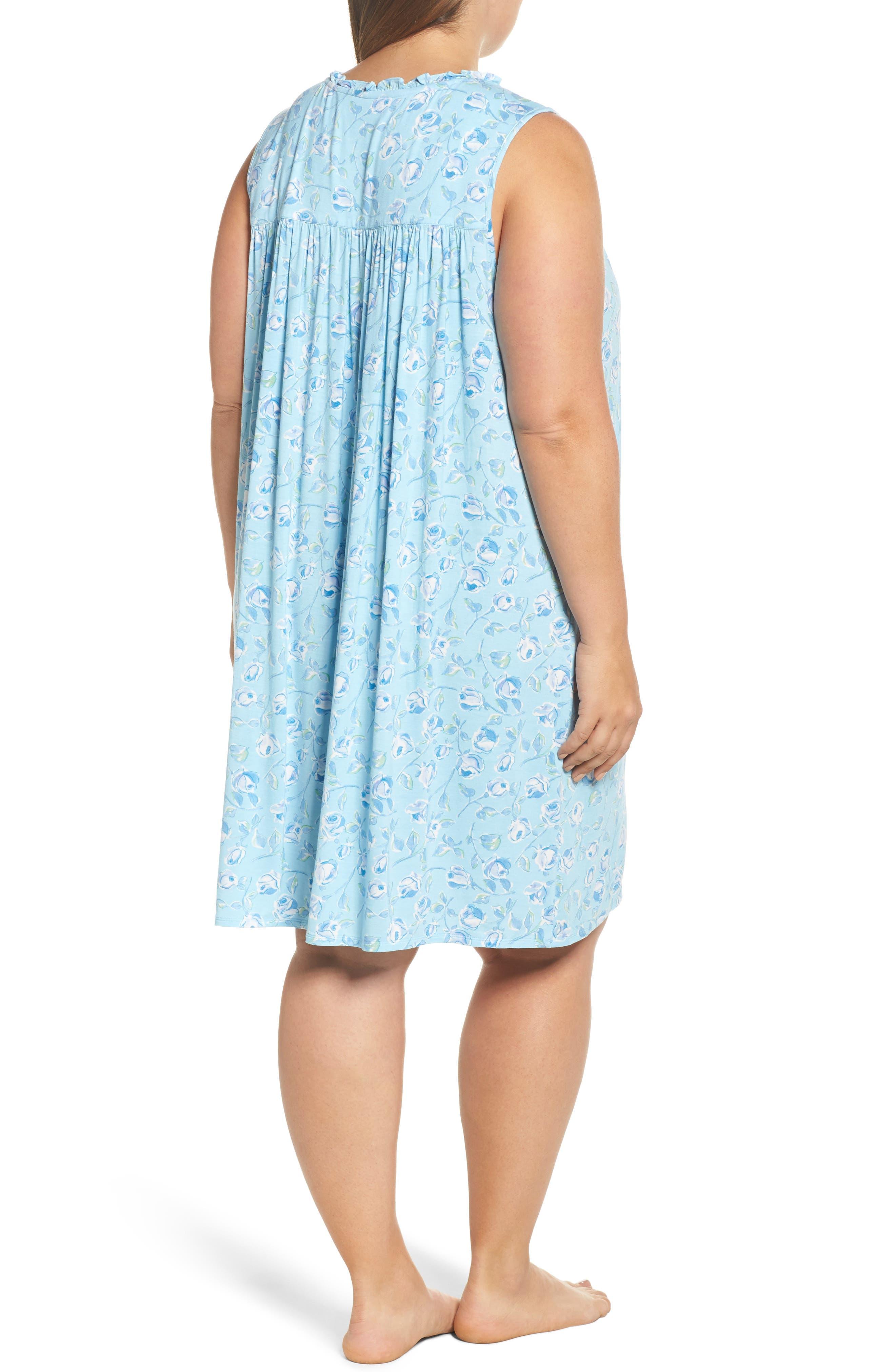 Short Nightgown,                             Alternate thumbnail 2, color,                             Light Seaglass/ Multi Roses