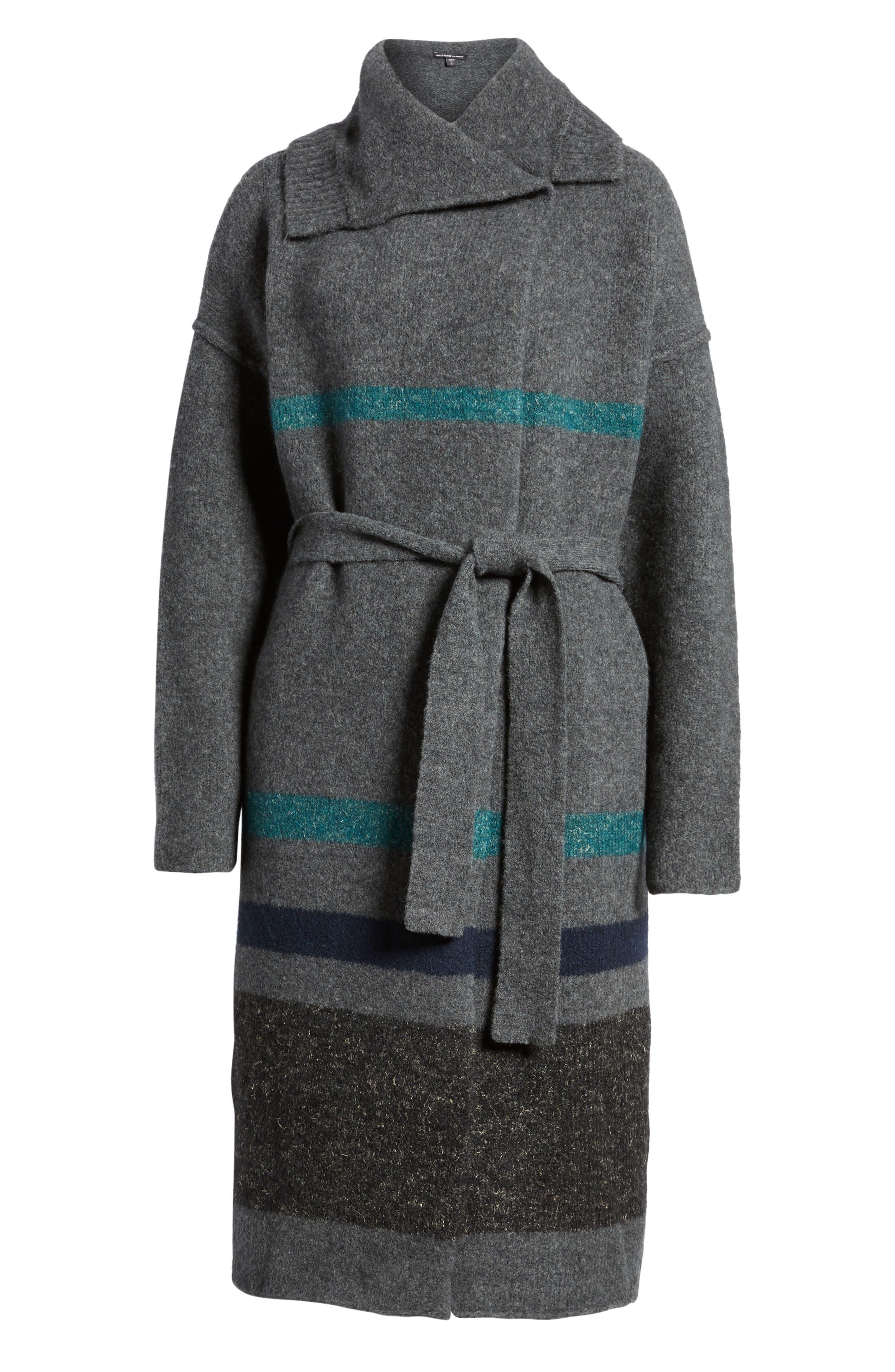 Belted Blanket Stripe Coat,                             Alternate thumbnail 6, color,                             Ash/ Val/ Imp/ Ant