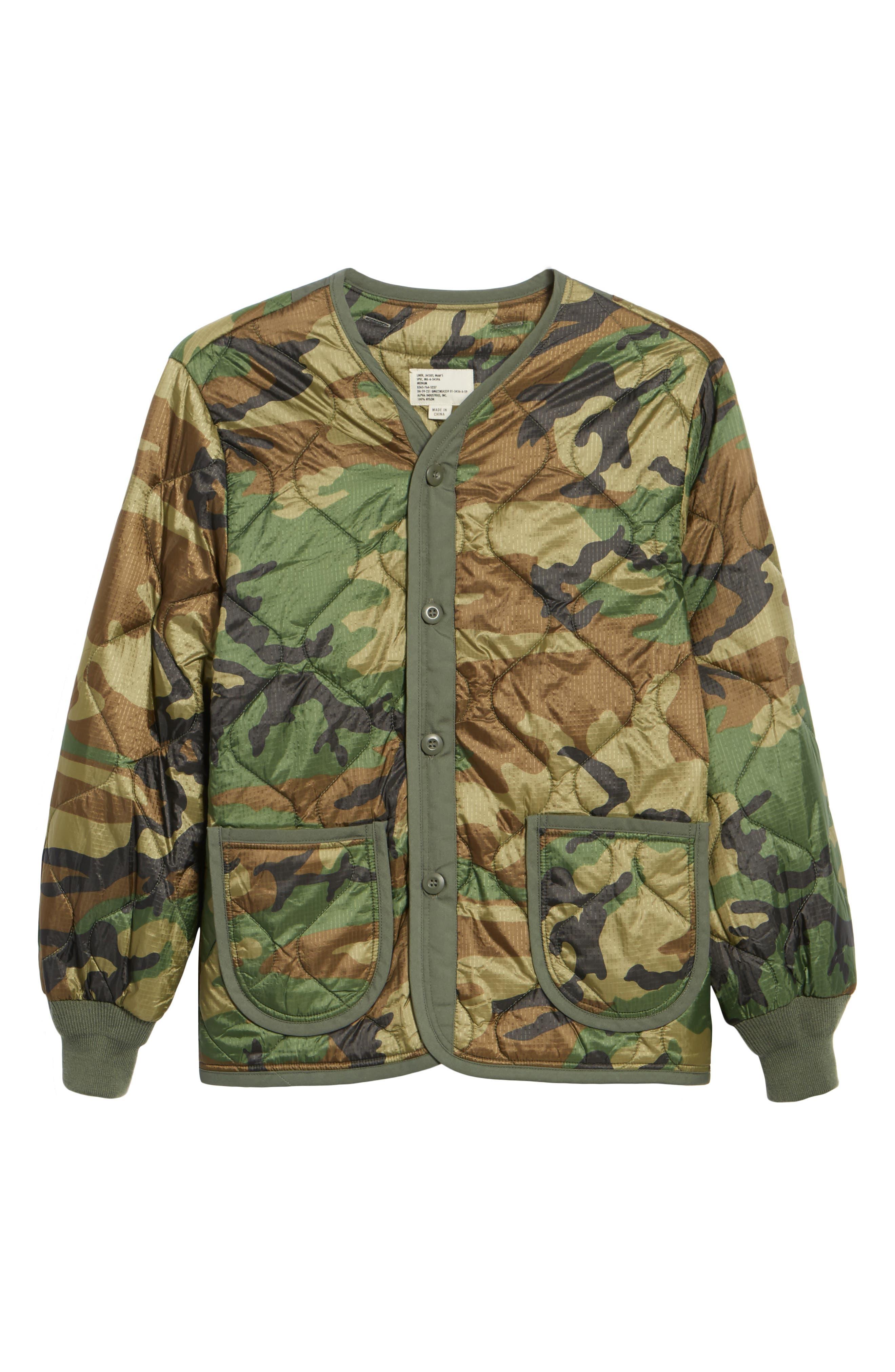 M-65 Defender Liner Jacket,                             Alternate thumbnail 6, color,                             Woodland Camo