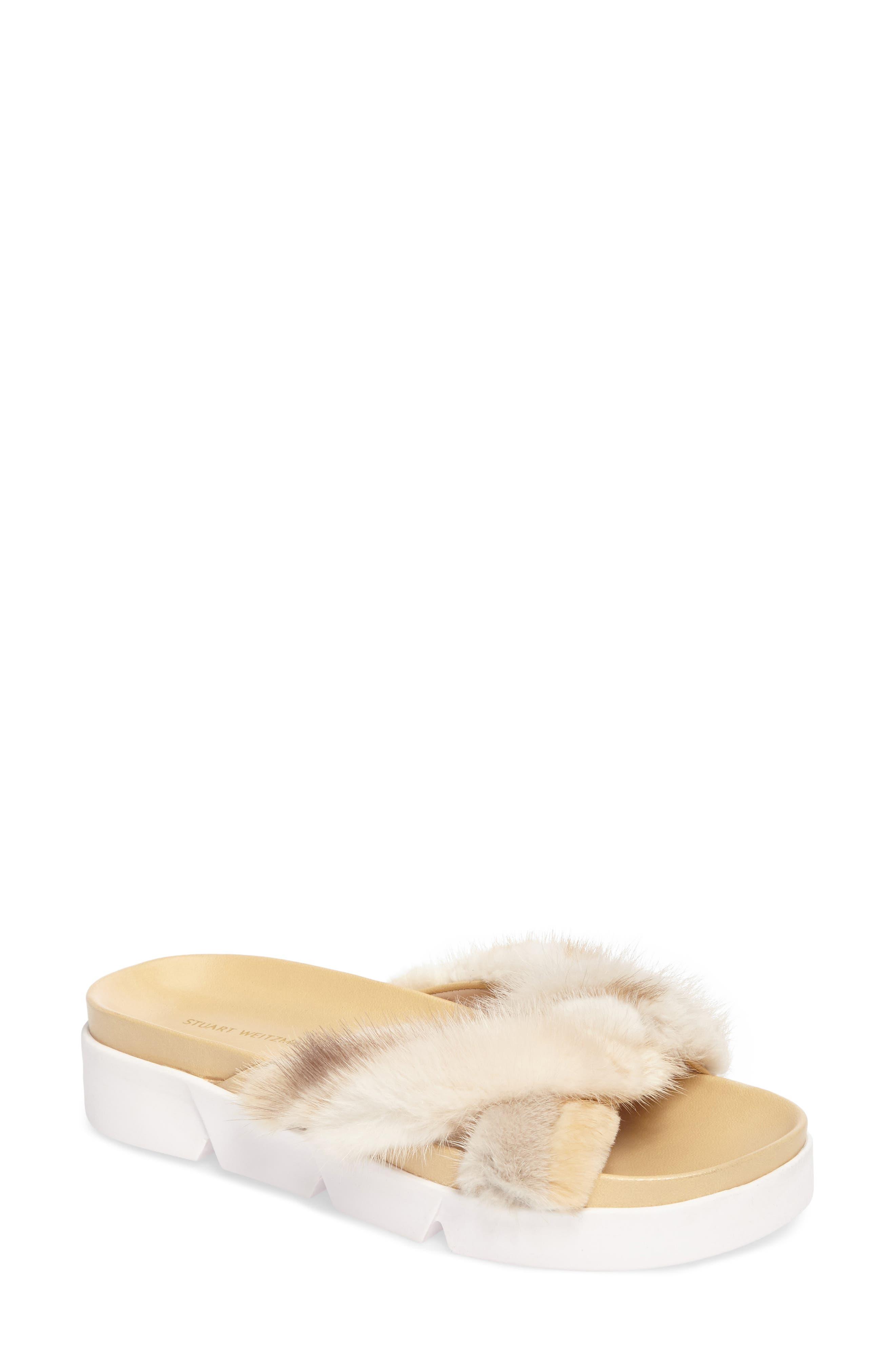 Stuart Weitzman Sublime Genuine Fox Fur Slide Sandal (Women)