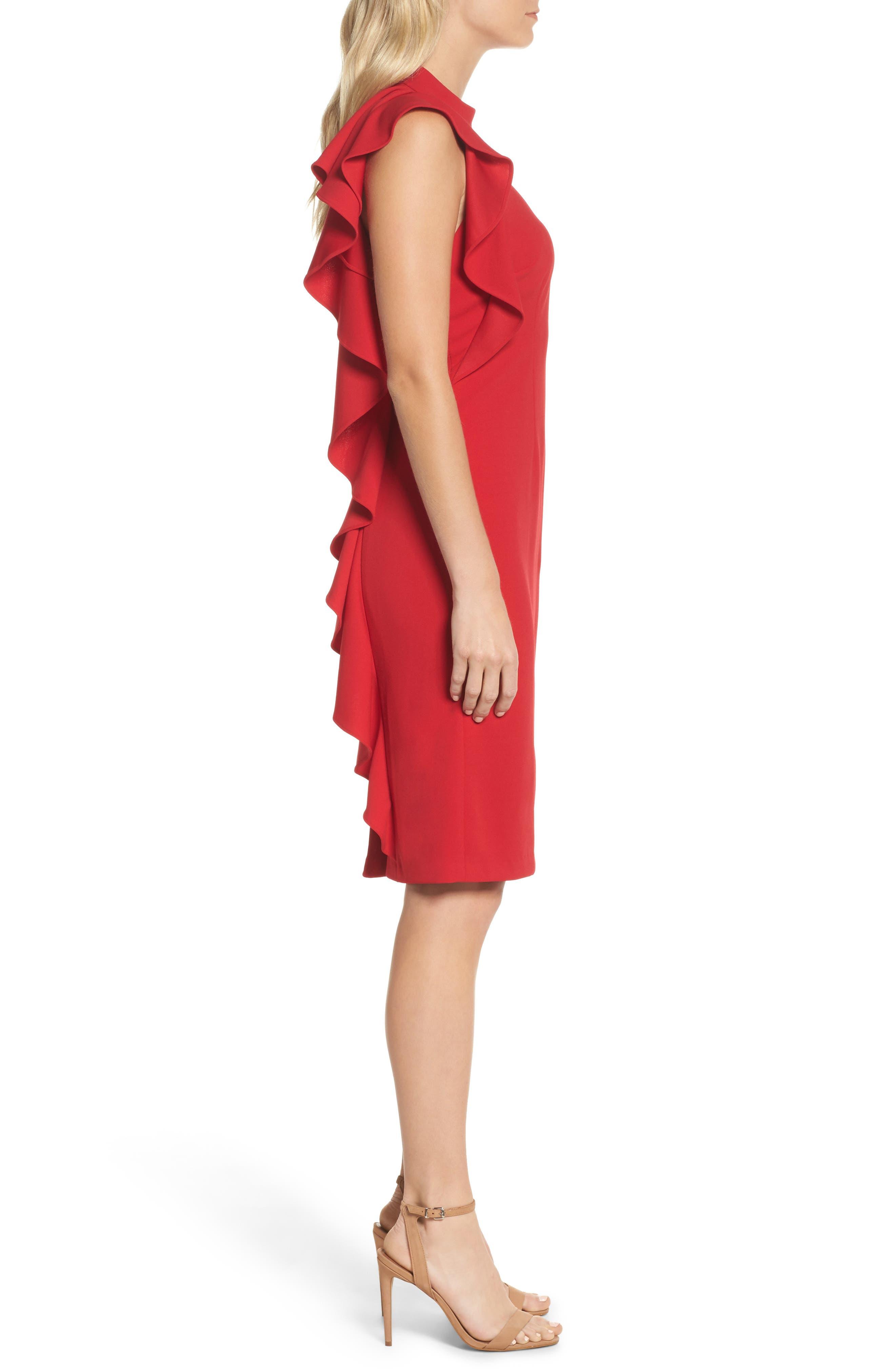Ruffle Crepe Halter Dress,                             Alternate thumbnail 3, color,                             Red