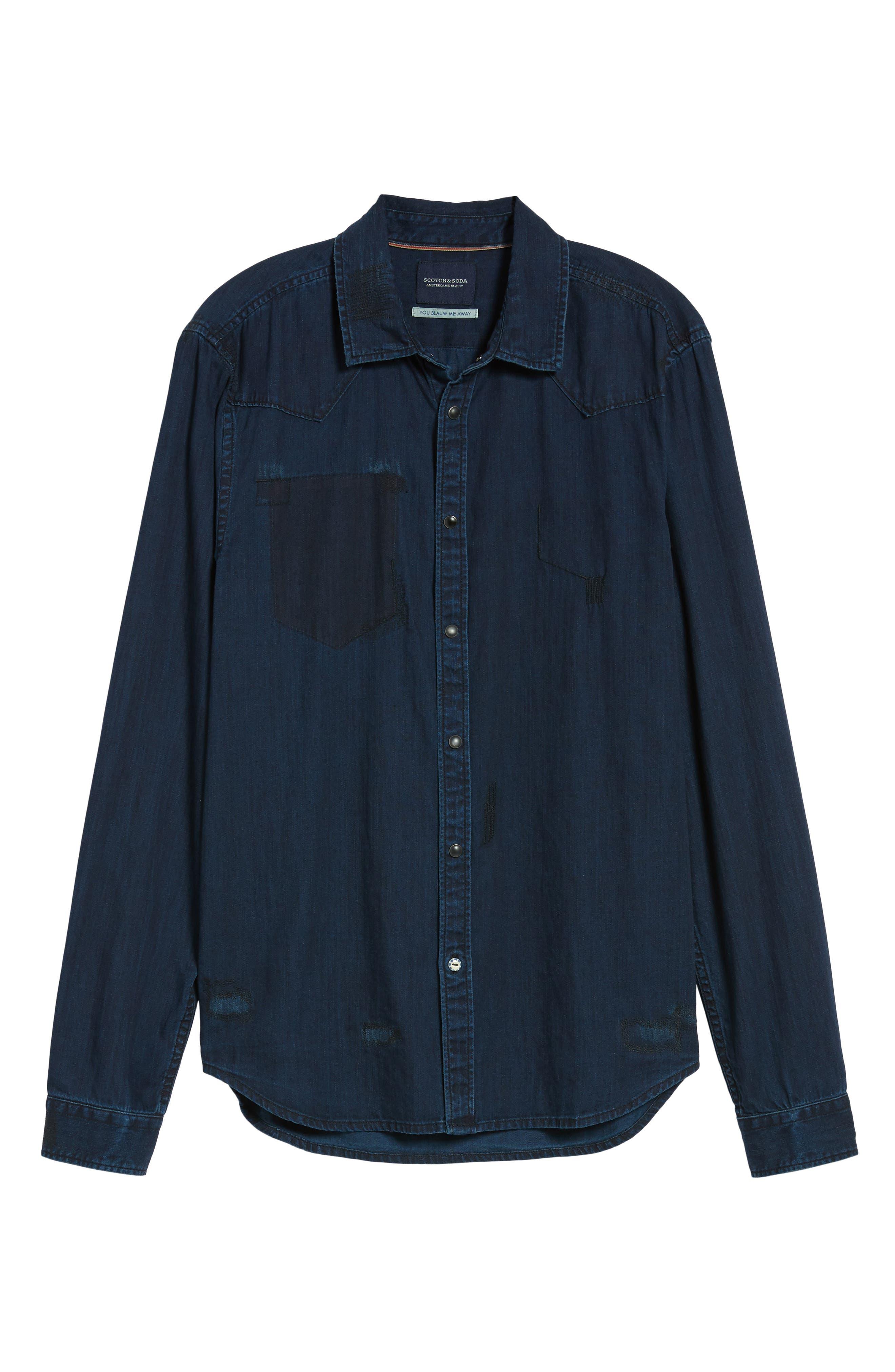 Pocketless Western Denim Shirt,                             Alternate thumbnail 6, color,                             Midnight