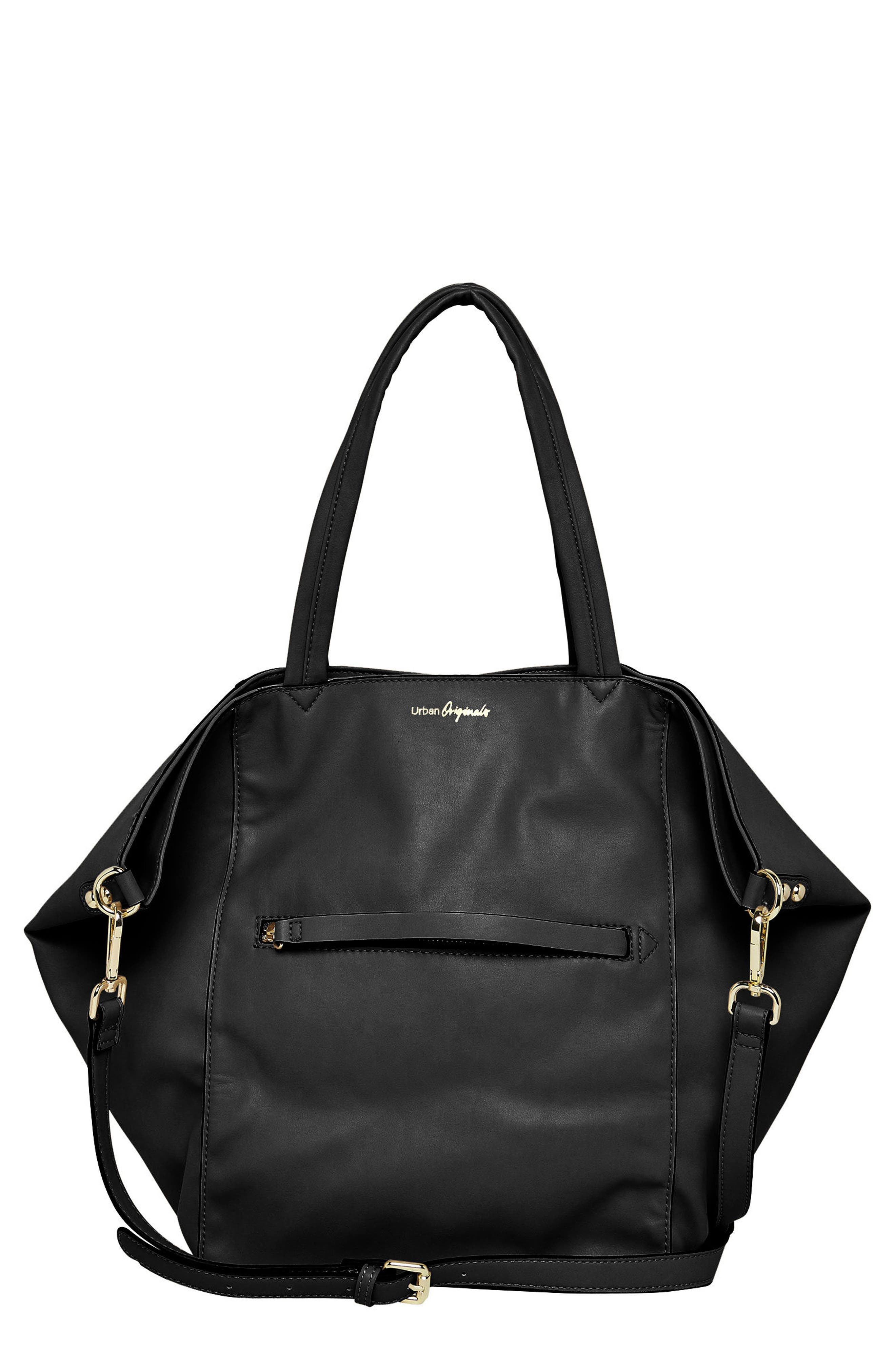 Every Girl Vegan Leather Tote,                             Main thumbnail 1, color,                             Black
