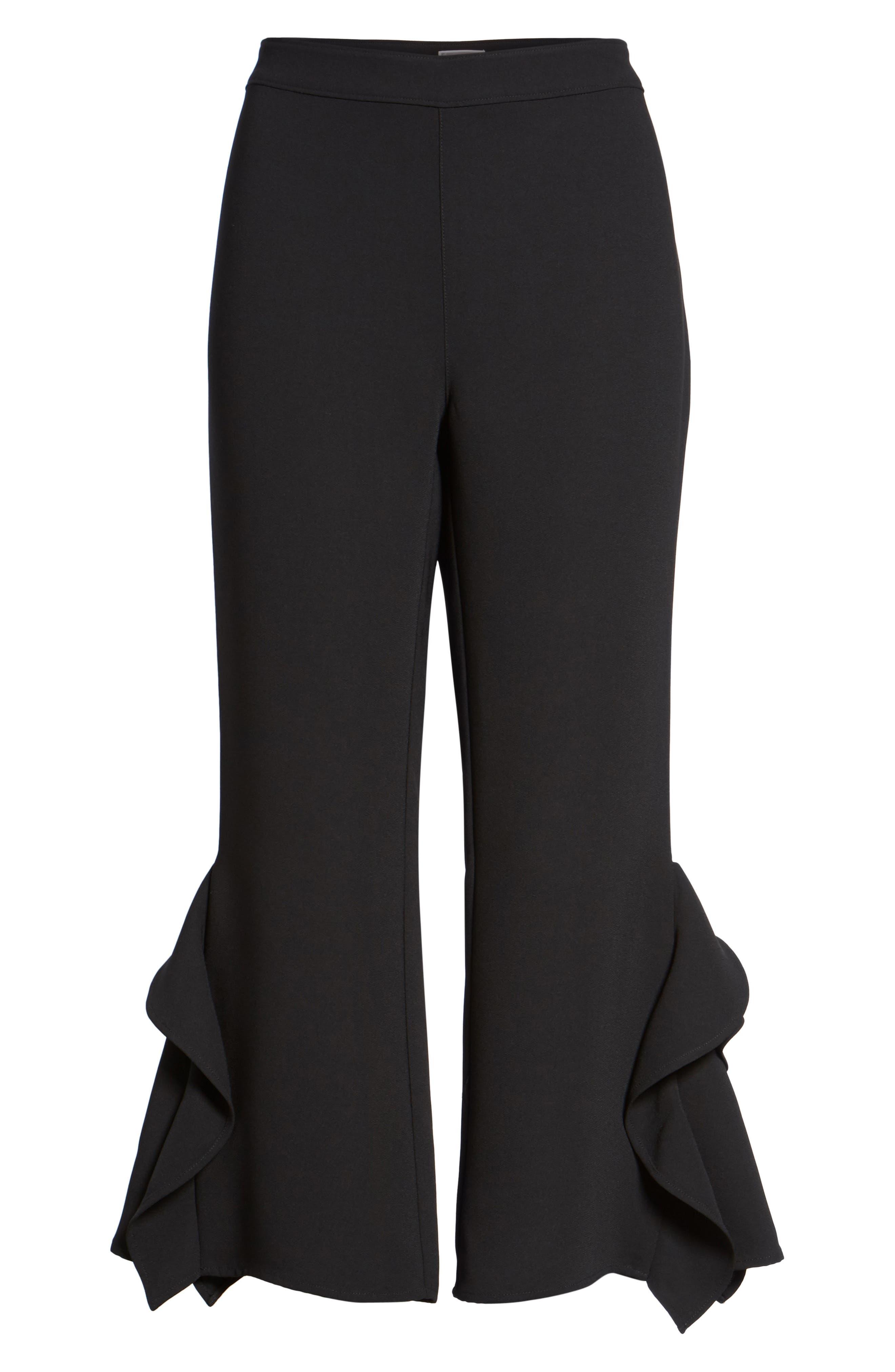 Ruffle Crop Pants,                             Alternate thumbnail 7, color,                             Black