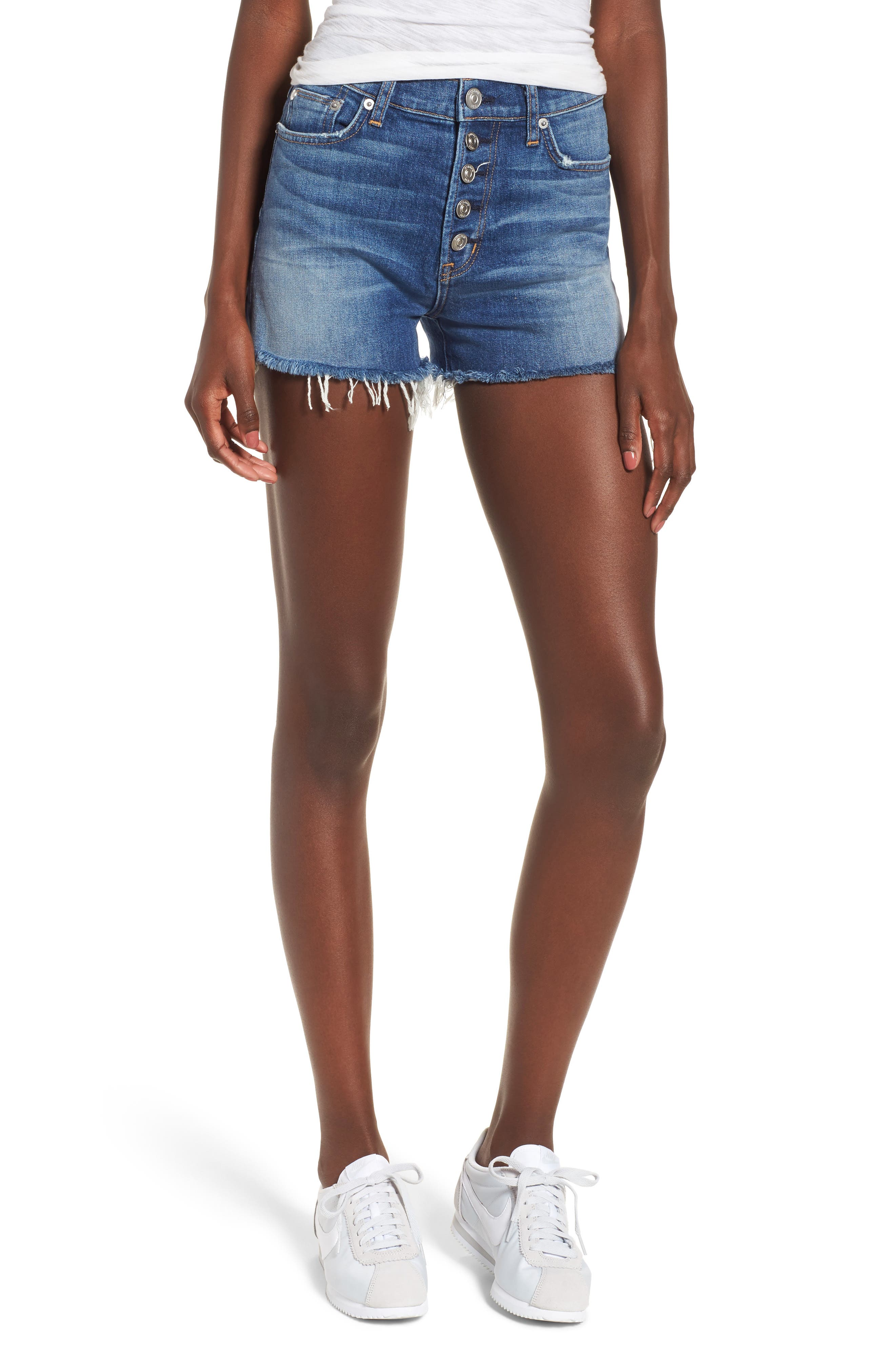 Zoeey High Waist Cutoff Denim Shorts,                             Main thumbnail 1, color,                             Doll Face