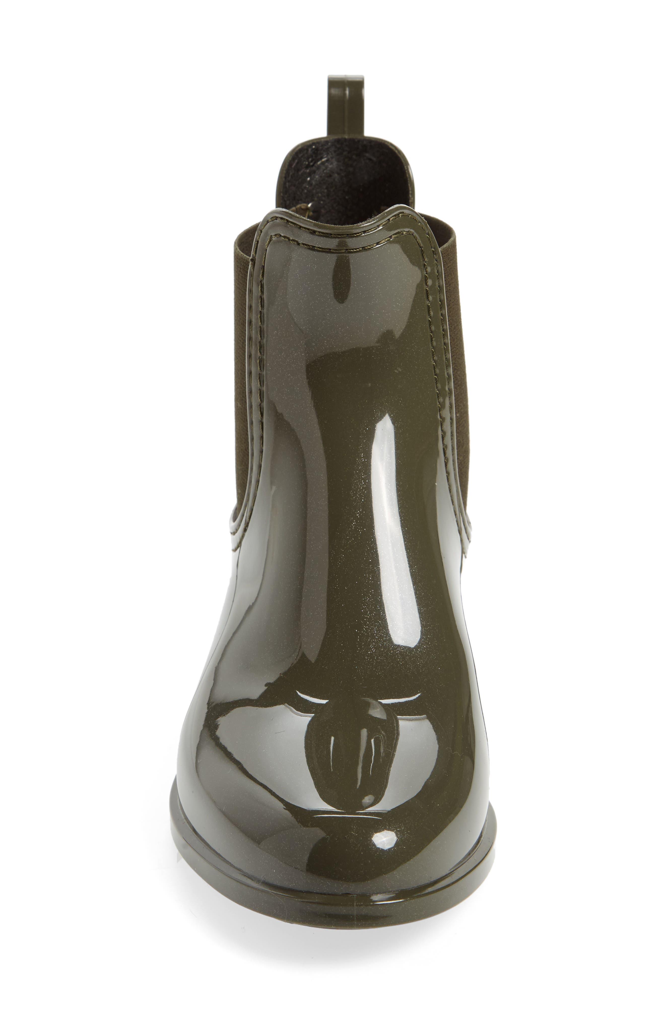 Comfy Waterproof Chelsea Boot,                             Alternate thumbnail 4, color,                             Metal Green Gloss