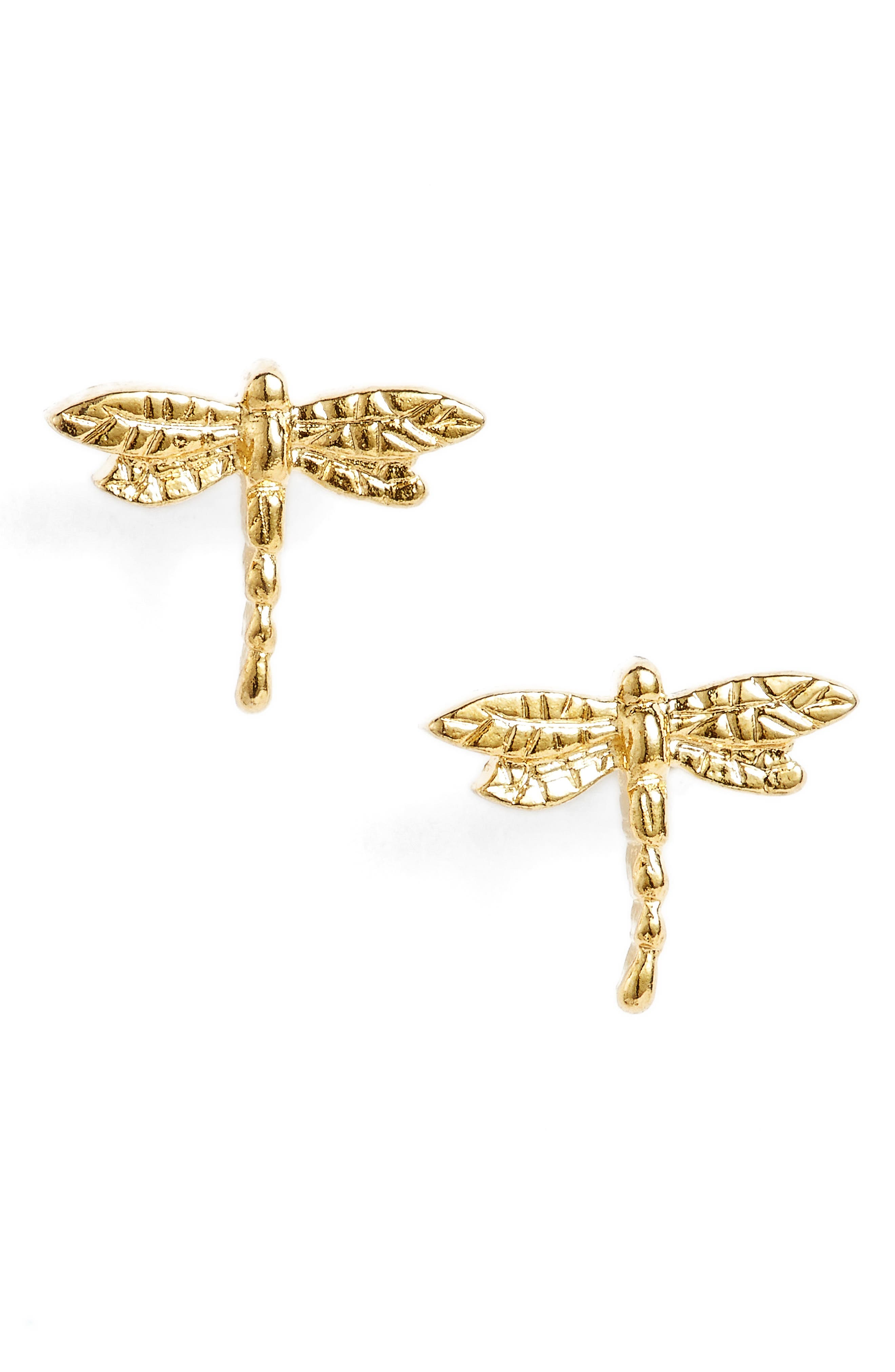 Dragonfly Stud Earrings,                             Alternate thumbnail 4, color,                             Gold