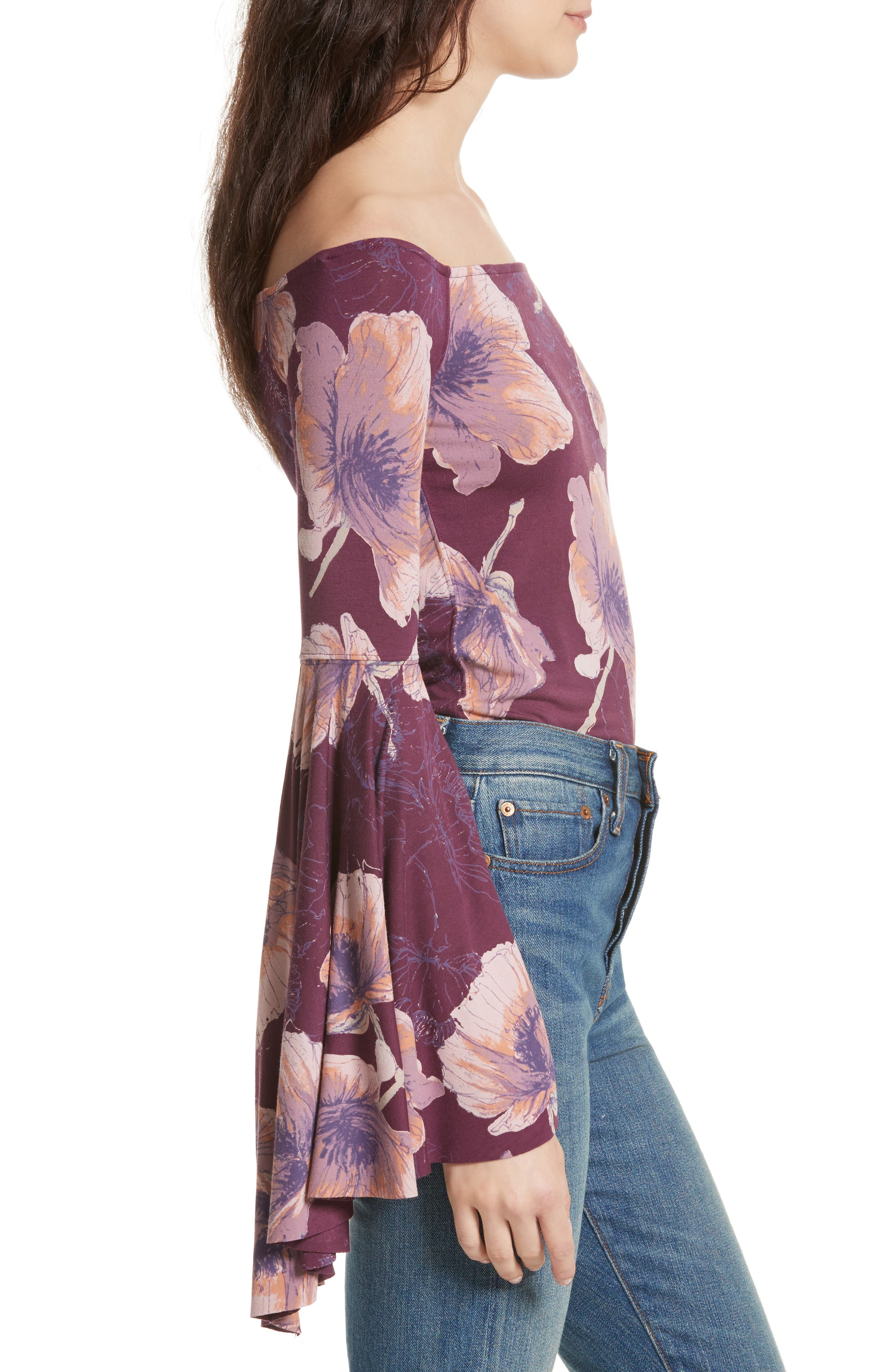 Birds of Paradise Print Off the Shoulder Top,                             Alternate thumbnail 3, color,                             Wine