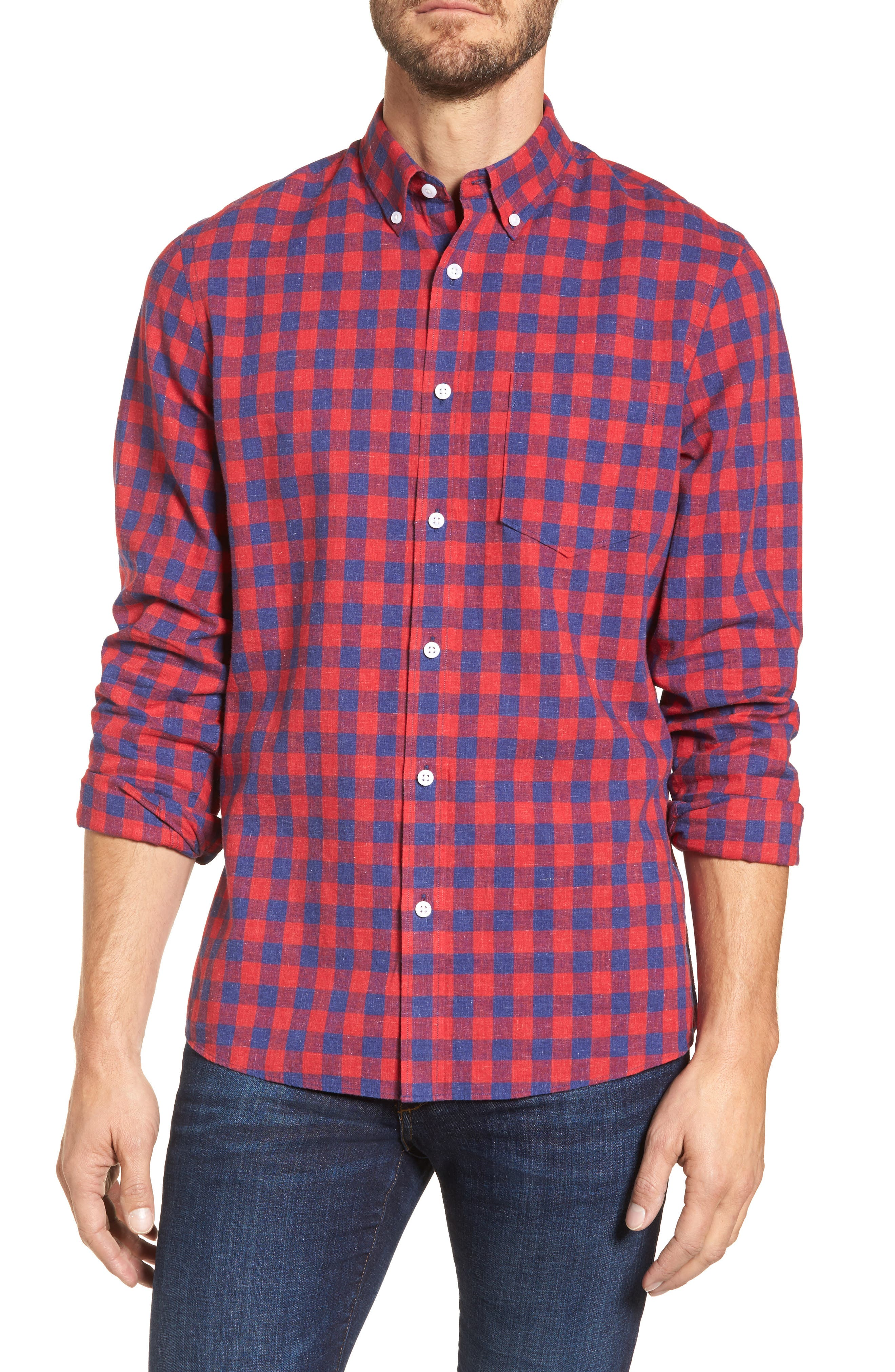 Spade Trim Fit Check Sport Shirt,                         Main,                         color, Red Chili Blue Check