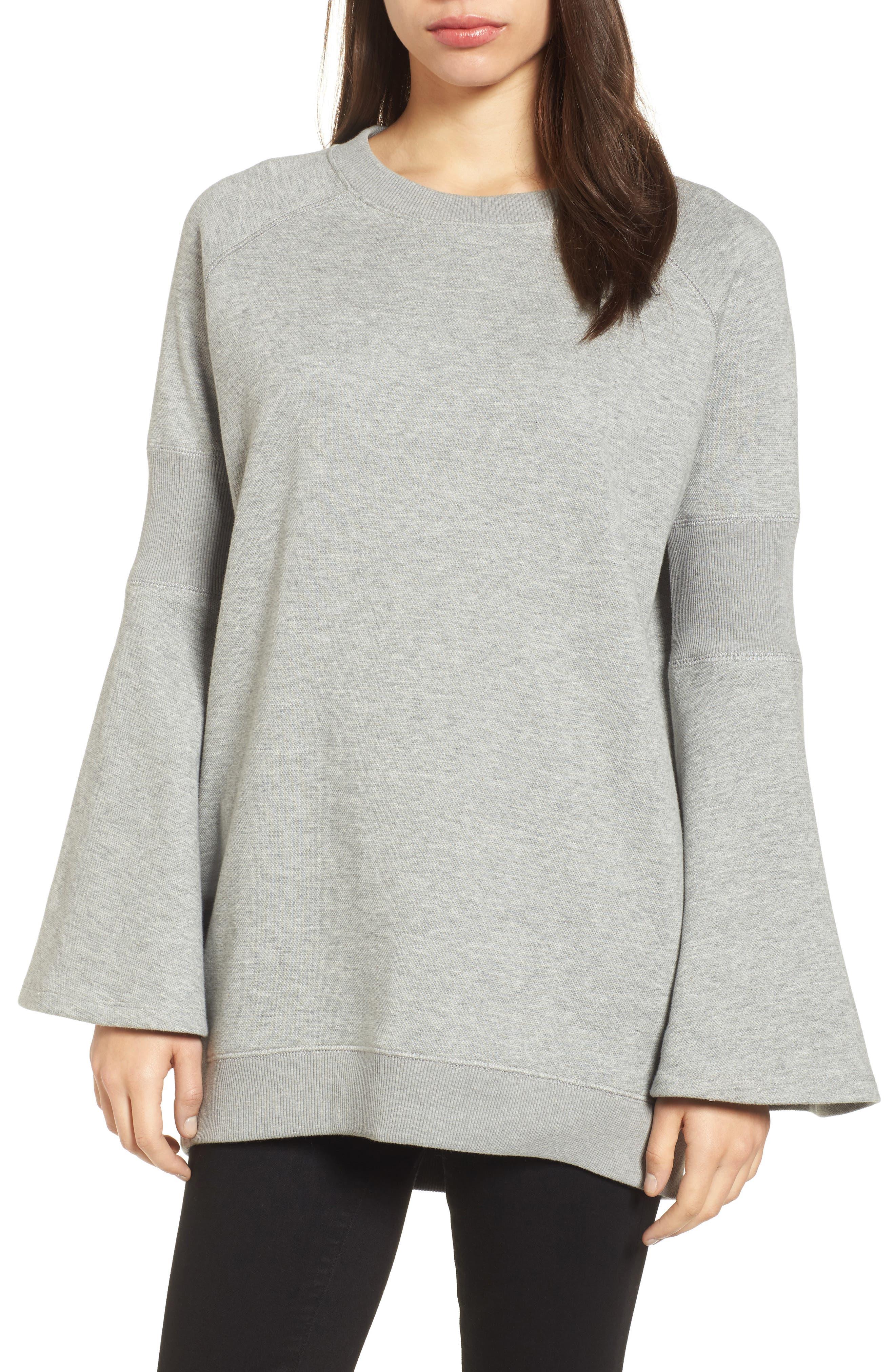 Bell Sleeve Ribbed Sweatshirt,                             Main thumbnail 1, color,                             Heather Gray Bros