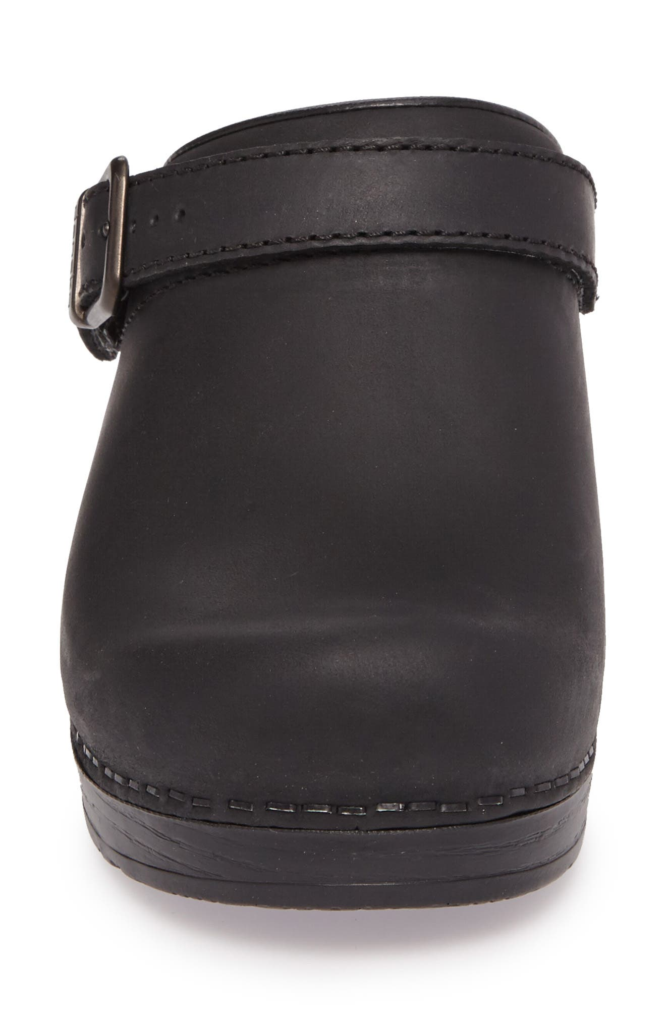 Ingrid Clog,                             Alternate thumbnail 4, color,                             Black Oiled Leather