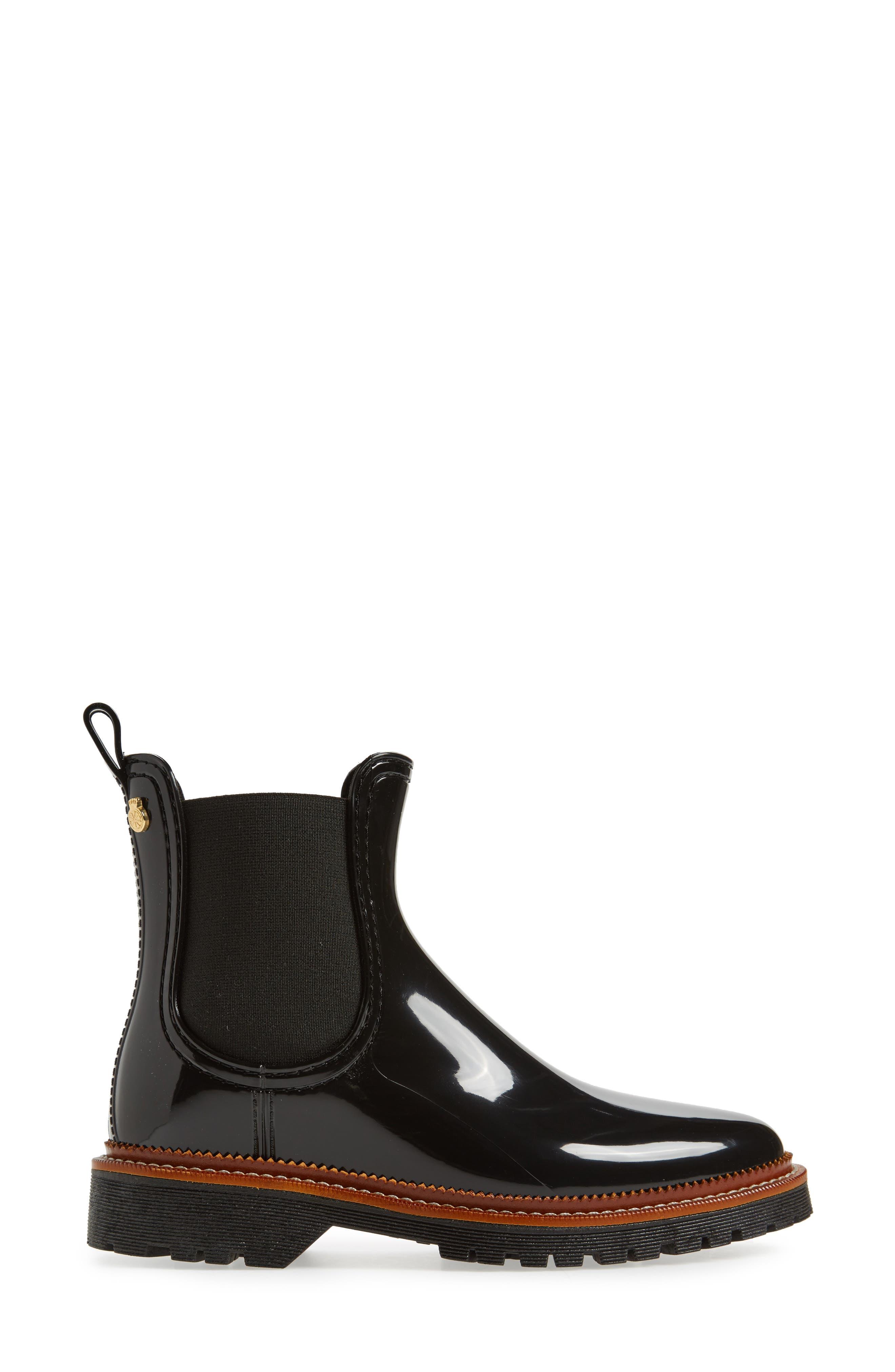 April Waterproof Chelsea Boot,                             Alternate thumbnail 3, color,                             Black Gloss