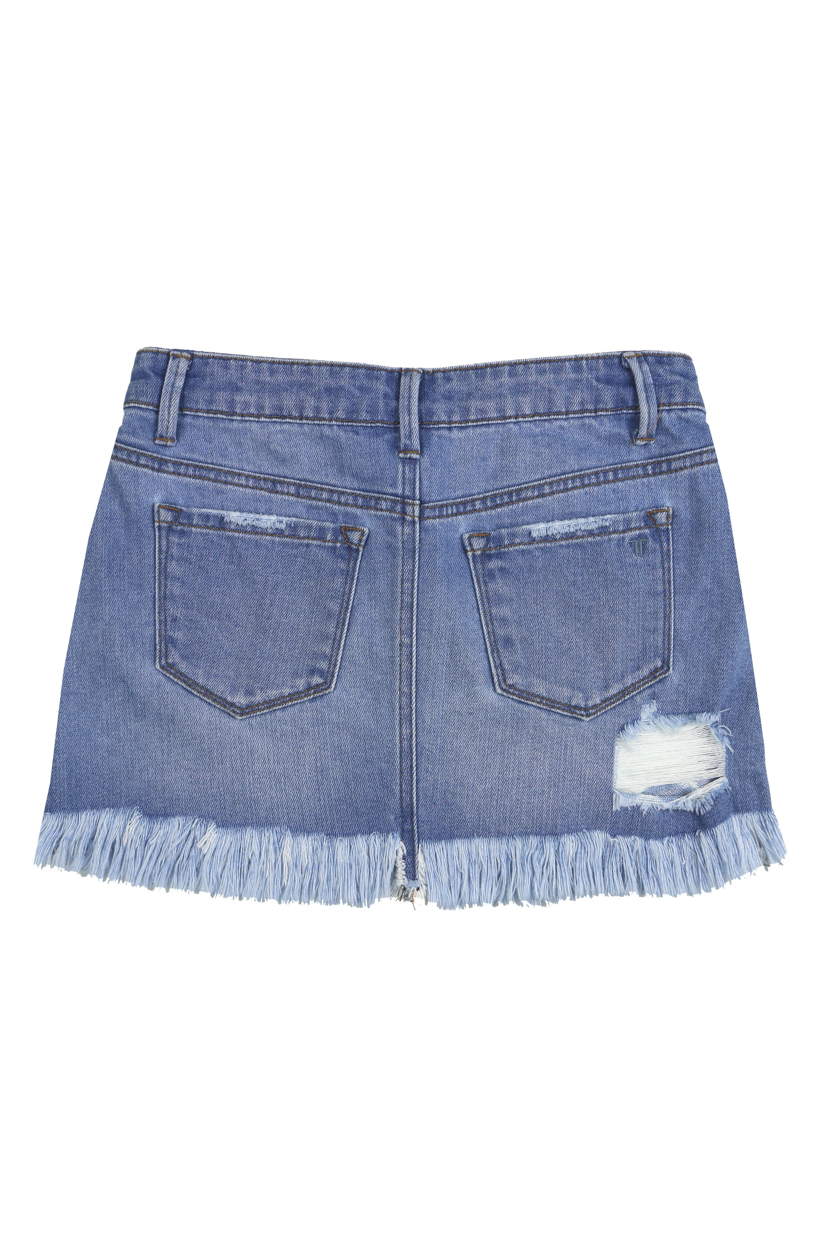 Alternate Image 2  - Tractr Distressed Denim Skirt (Big Girls)