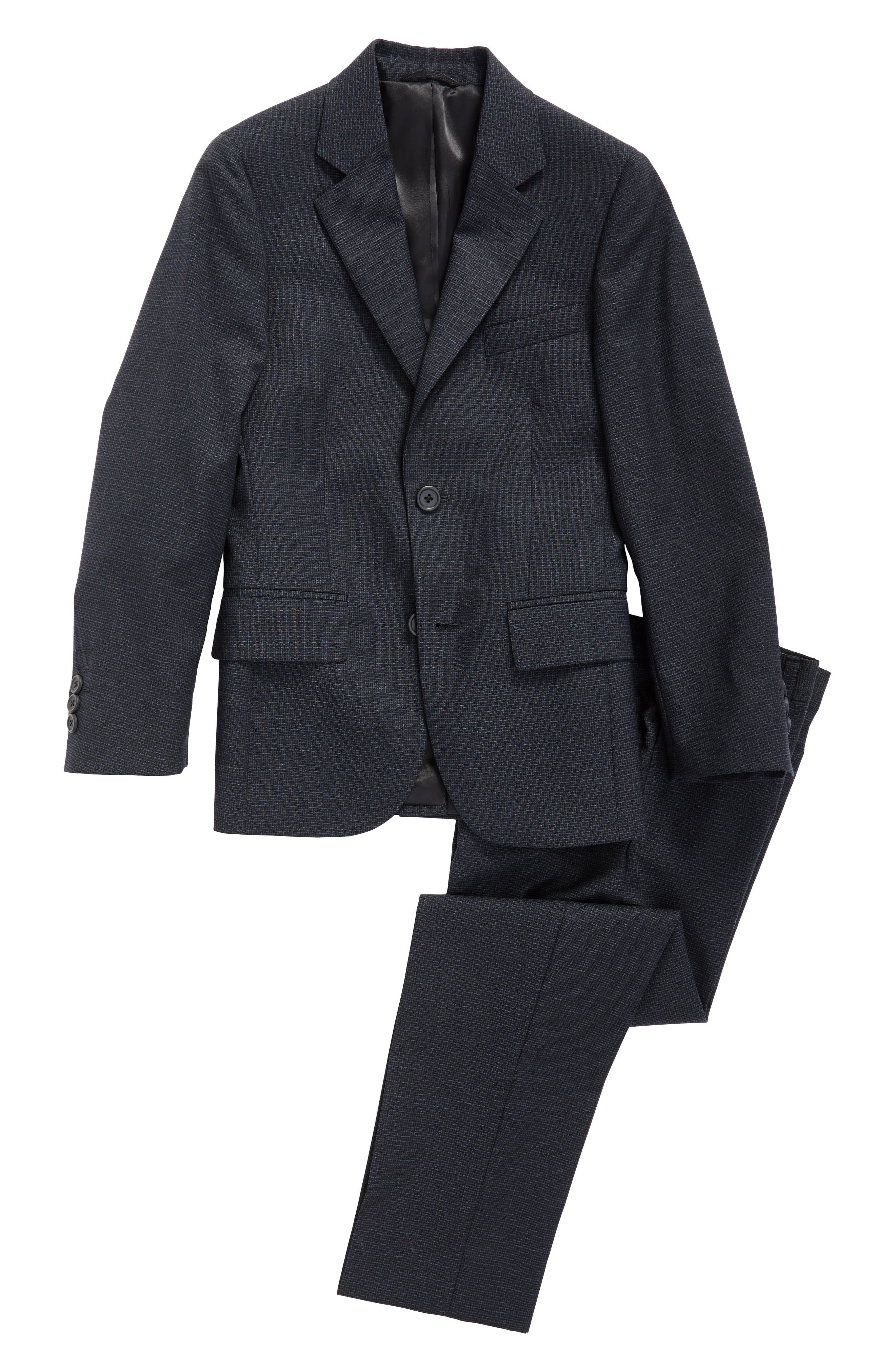 Micro Check Wool Suit,                         Main,                         color, Grey