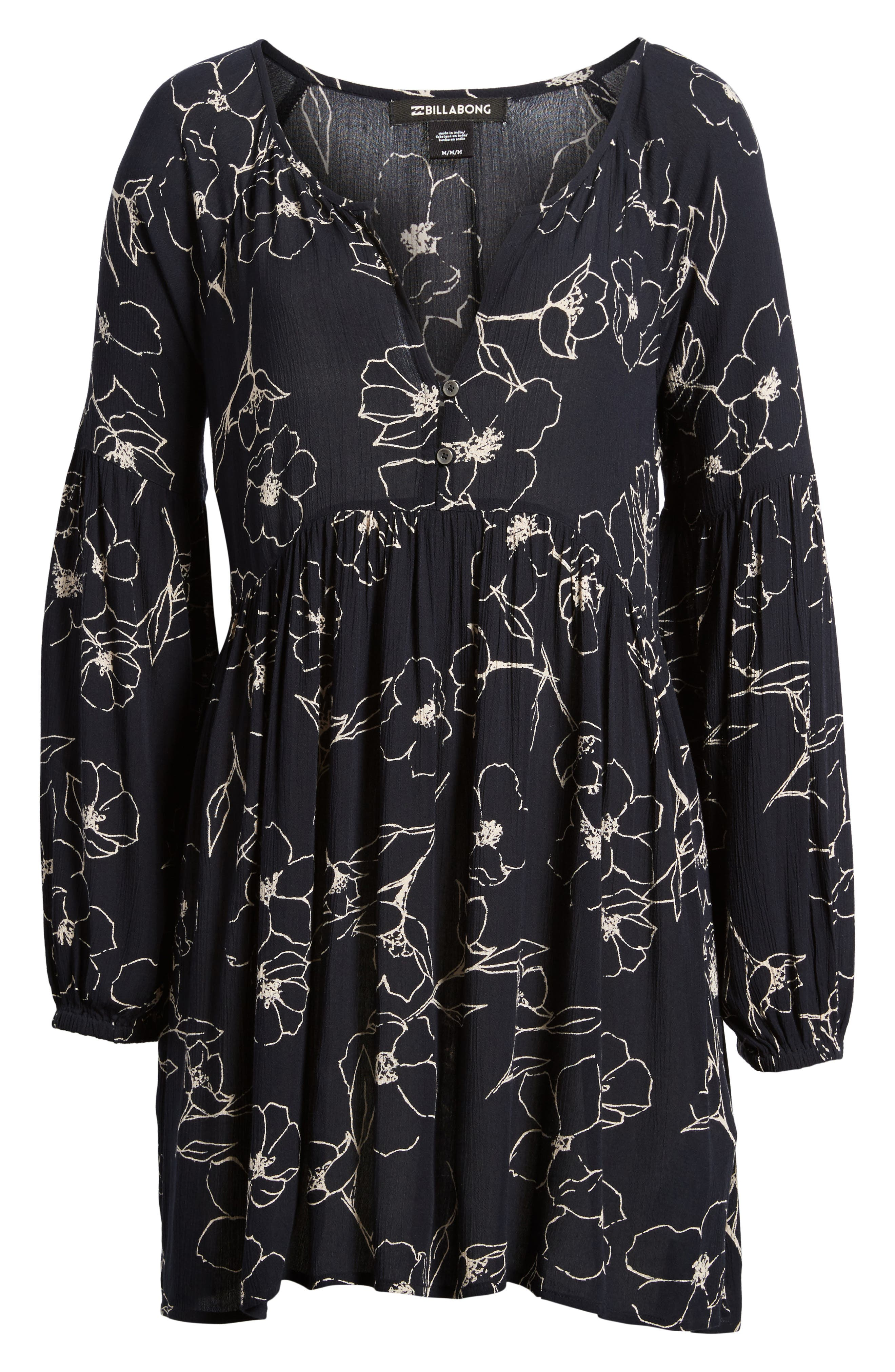Until Tomorrow Print Babydoll Dress,                             Alternate thumbnail 6, color,                             Black