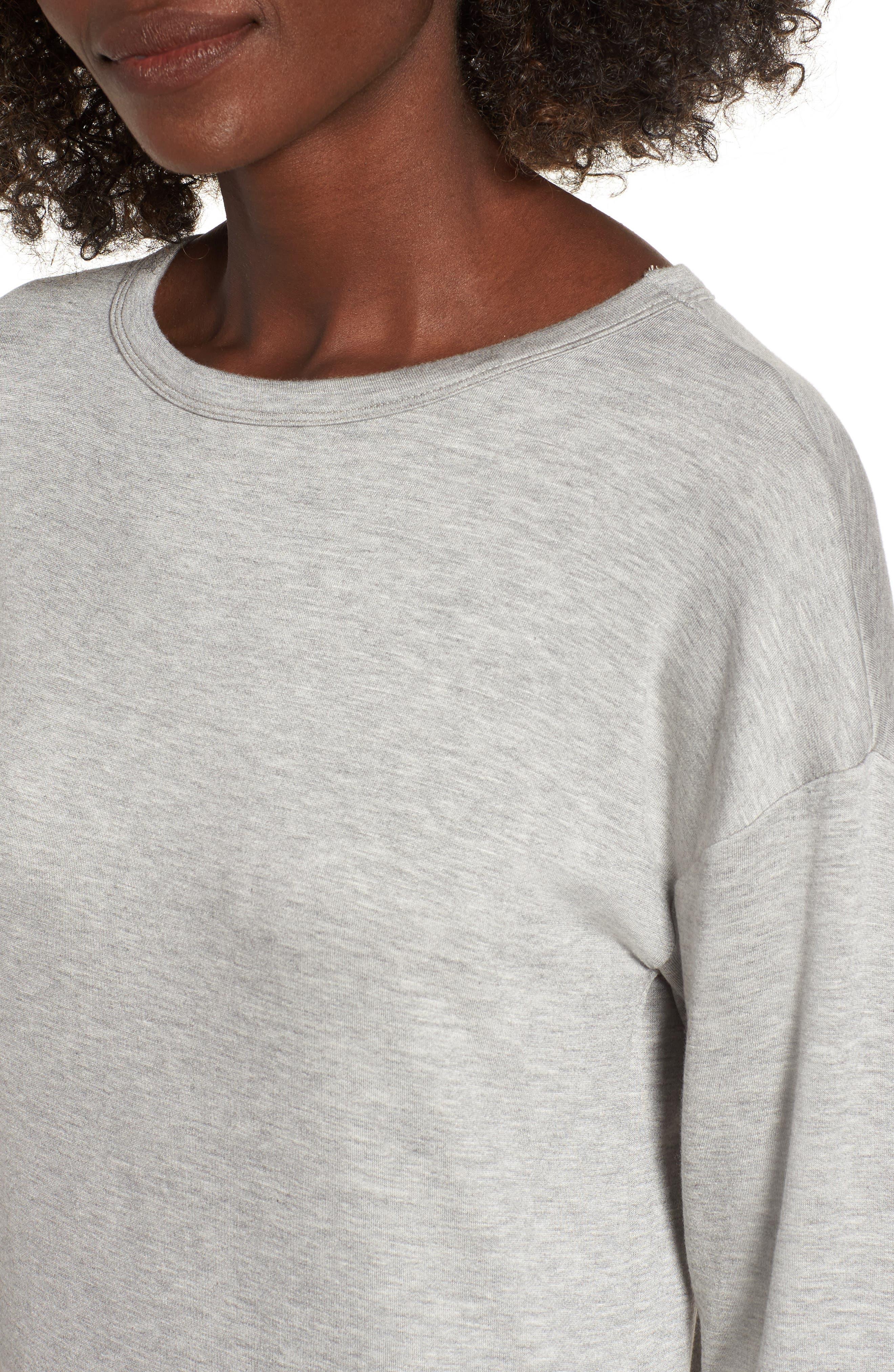 Drop Waist Sweatshirt Dress,                             Alternate thumbnail 4, color,                             Heather Grey