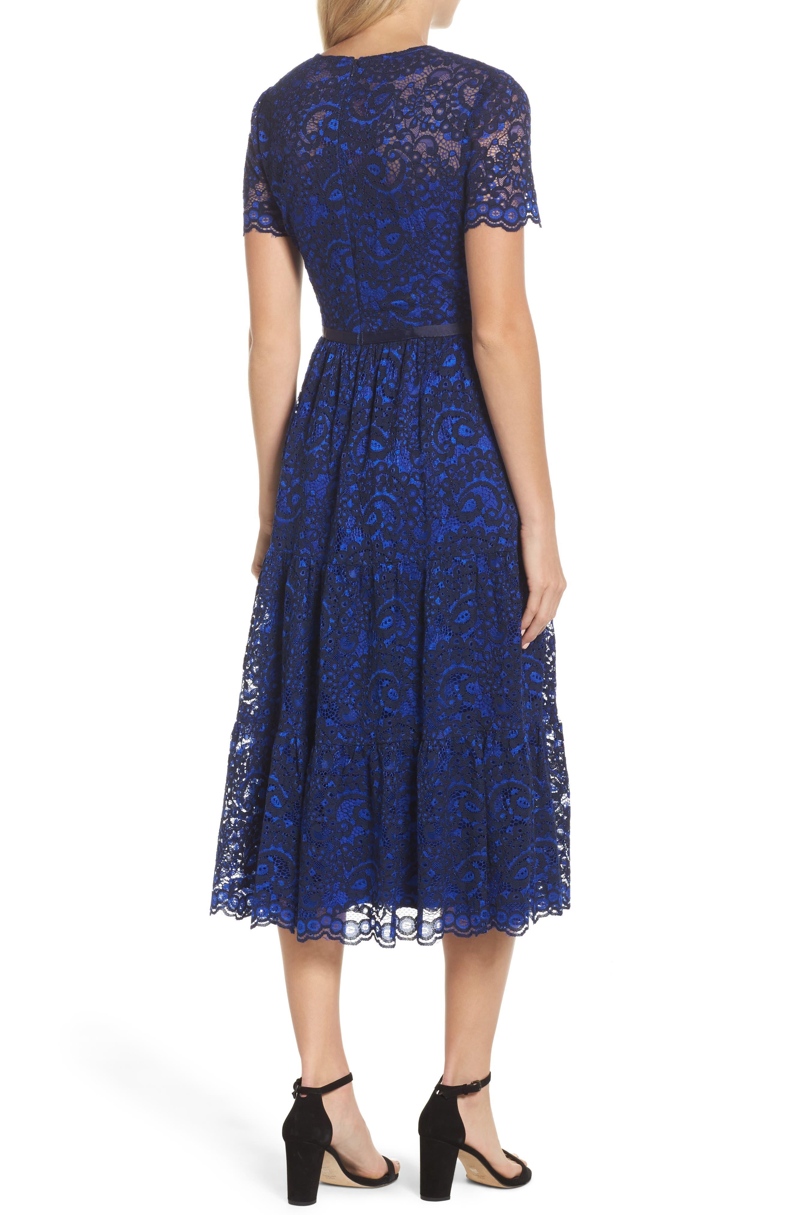 Lace Midi Dress,                             Alternate thumbnail 2, color,                             Cobalt/ Navy