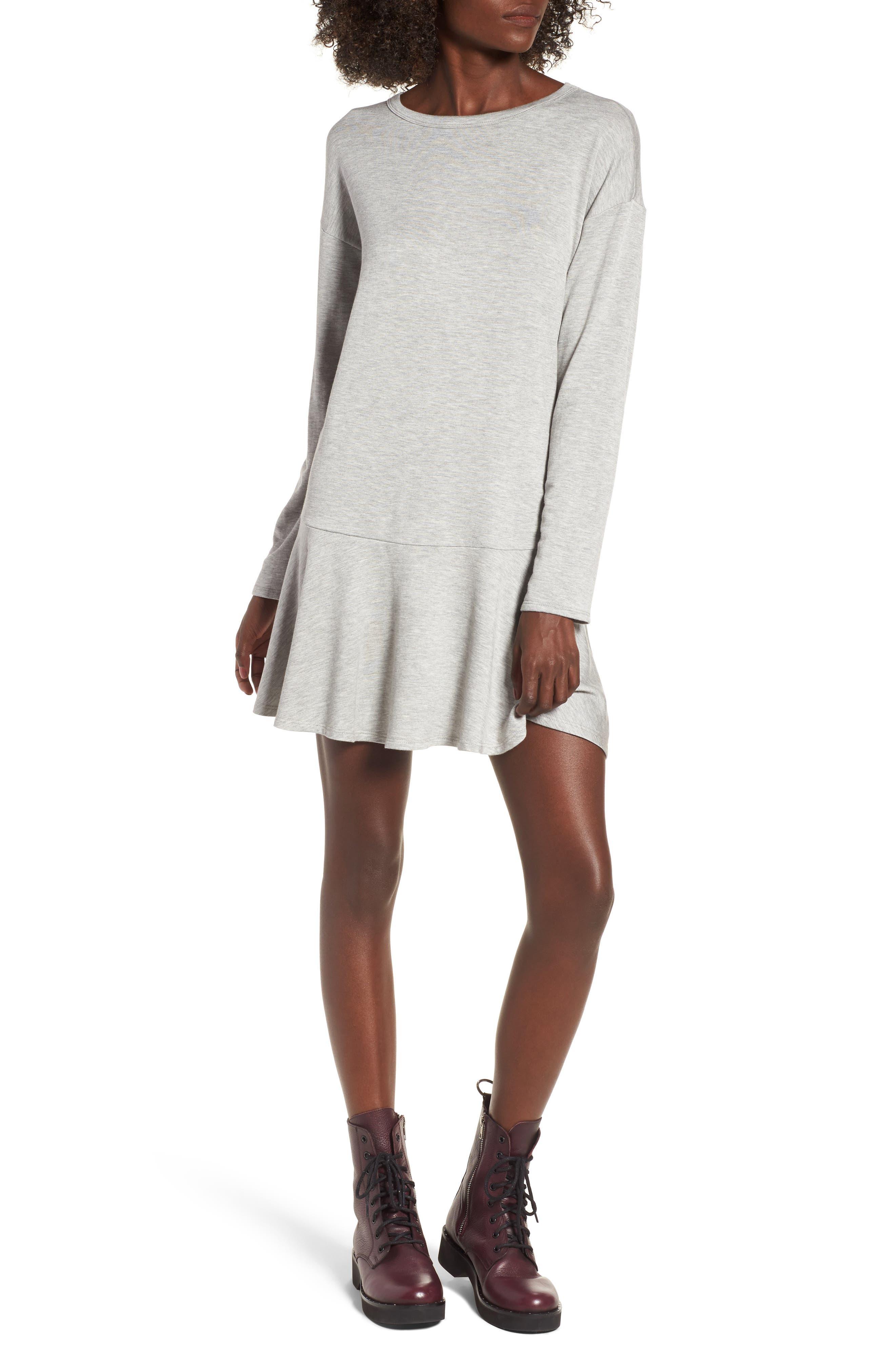 Drop Waist Sweatshirt Dress,                             Main thumbnail 1, color,                             Heather Grey