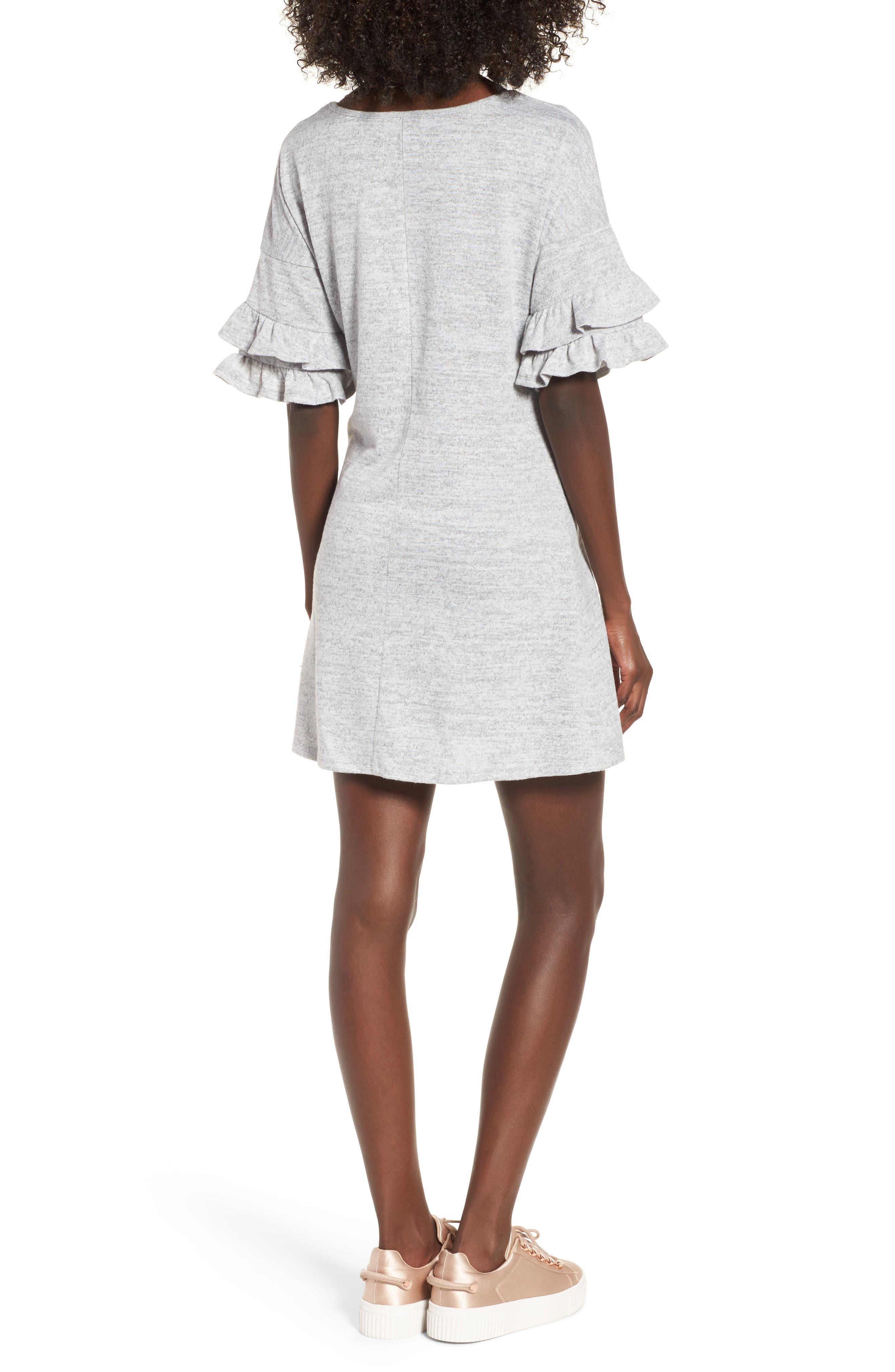 Ruffle Sleeve Sweatshirt Dress,                             Alternate thumbnail 2, color,                             Heather Grey