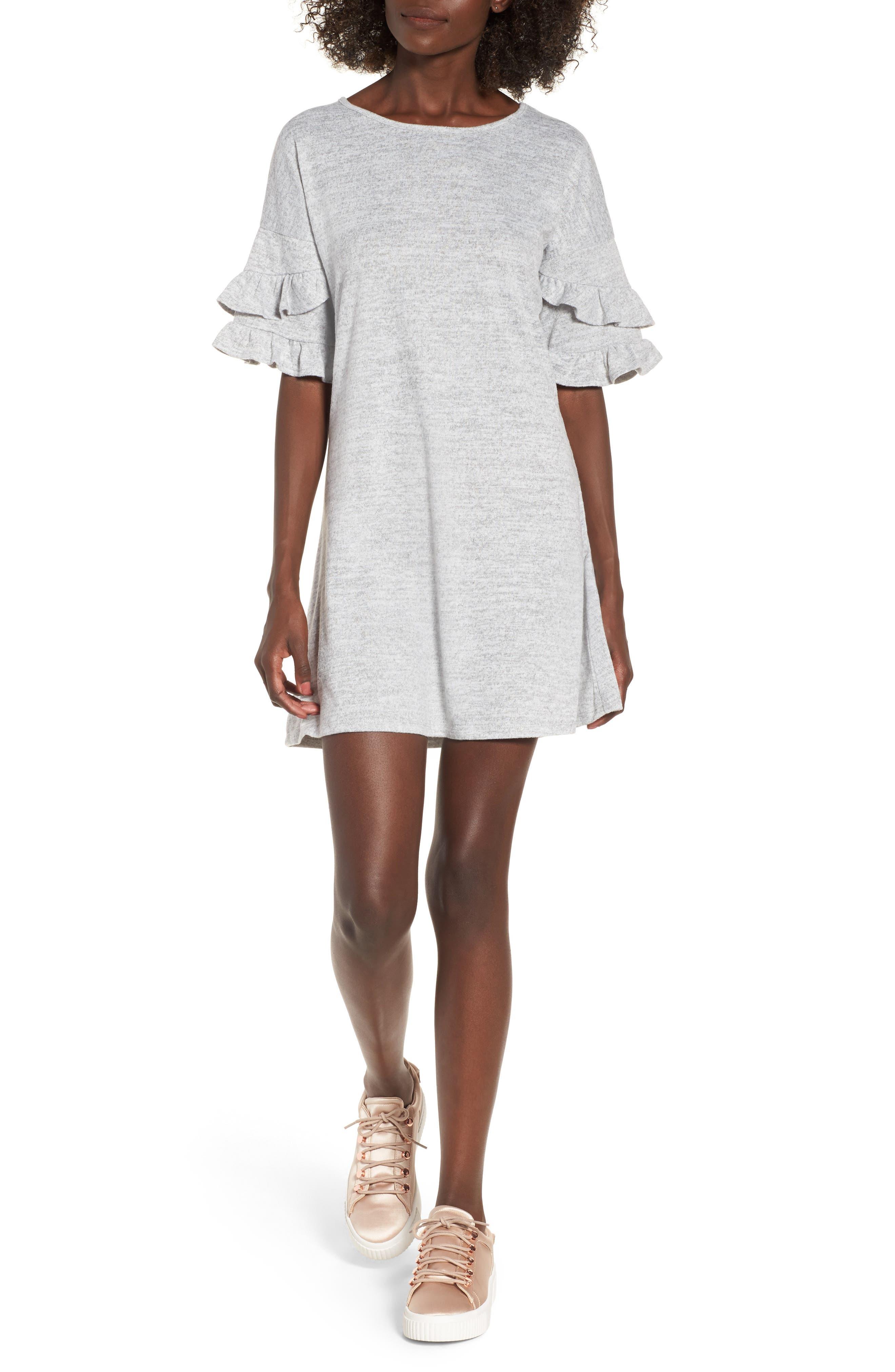 Ruffle Sleeve Sweatshirt Dress,                             Main thumbnail 1, color,                             Heather Grey