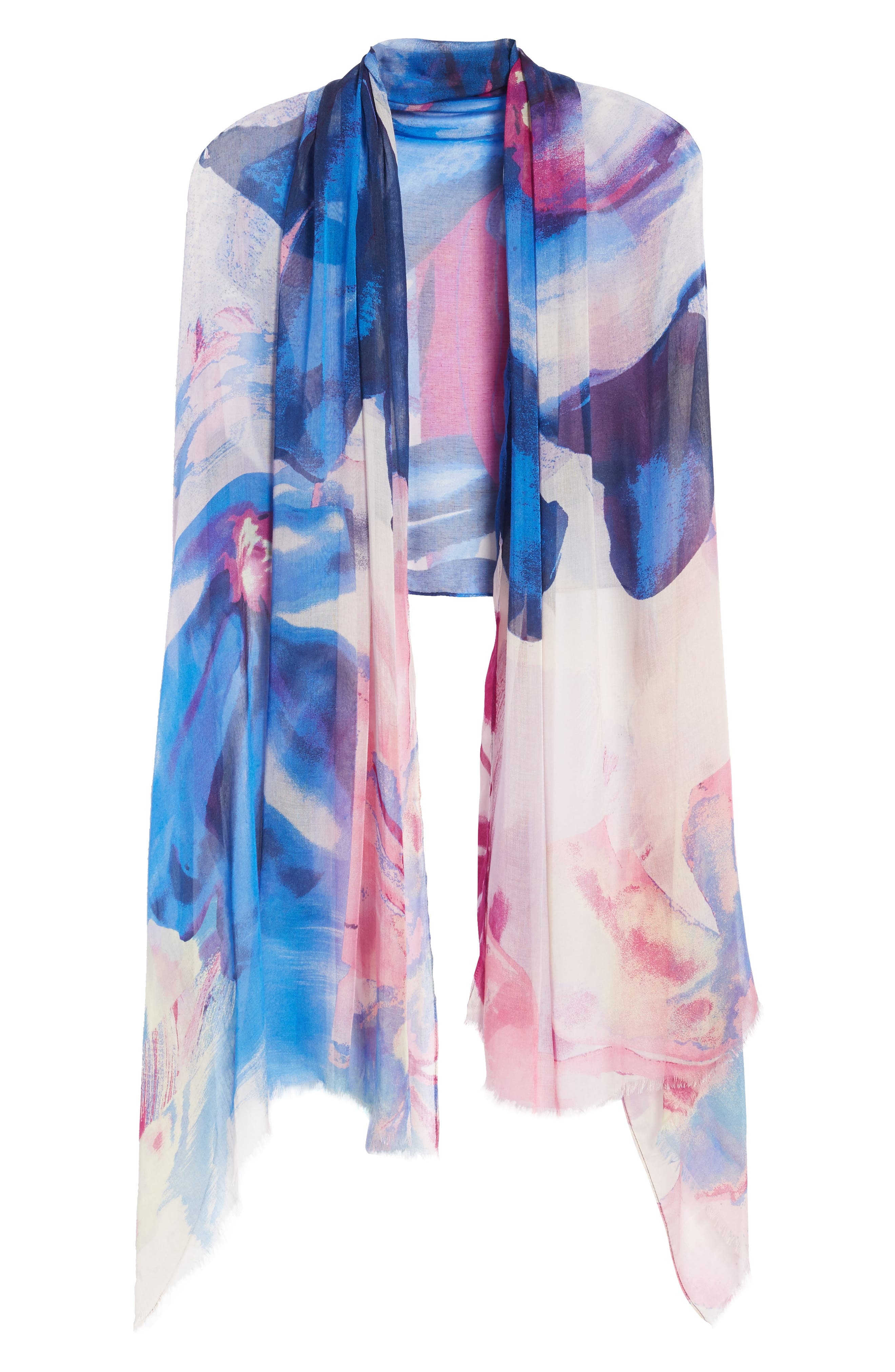 Print Modal & Silk Scarf,                             Alternate thumbnail 5, color,                             Blue Maxi Floral