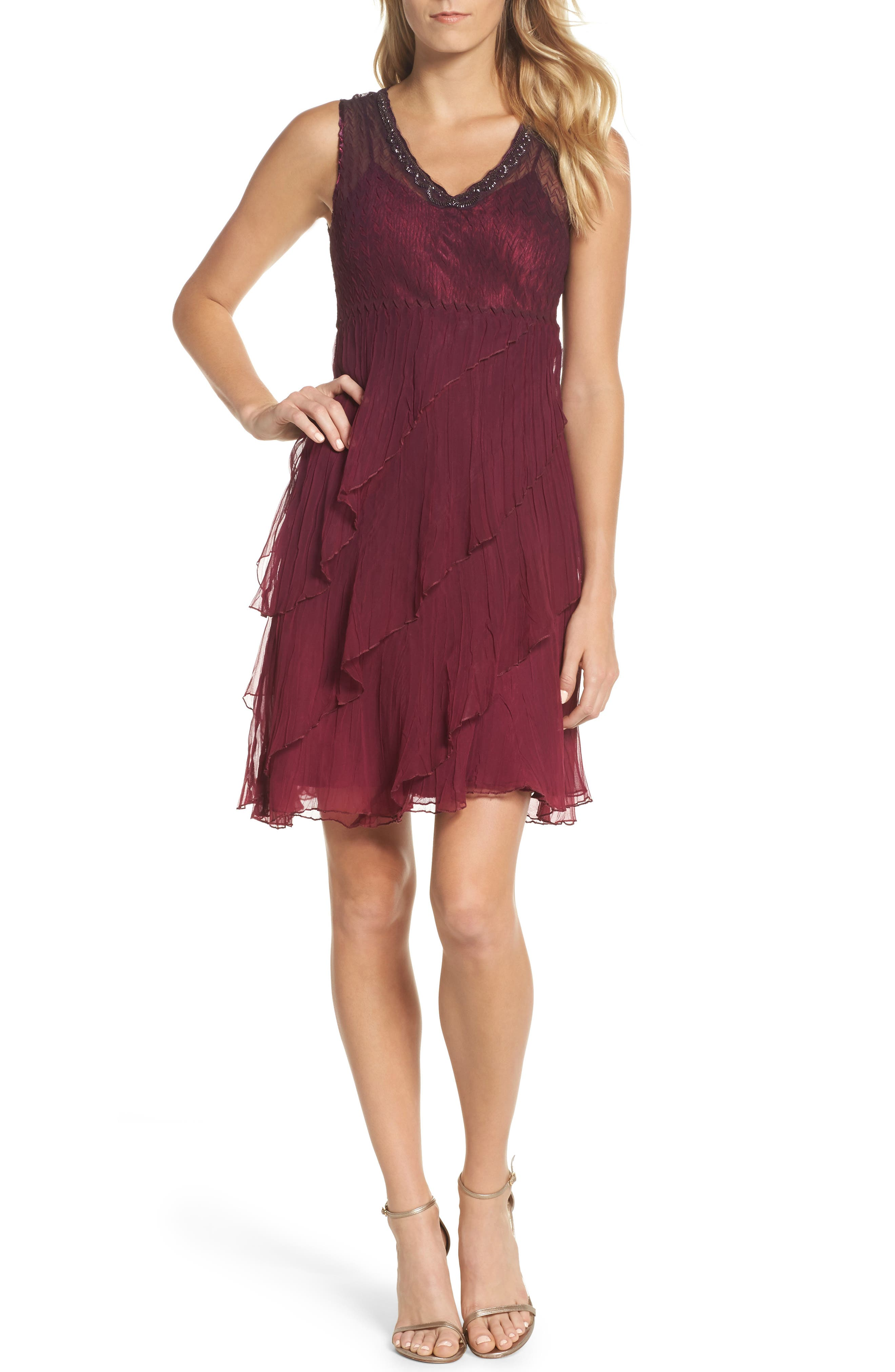 Tiered A-Line Dress with Shawl,                             Alternate thumbnail 5, color,                             Red Plum Night